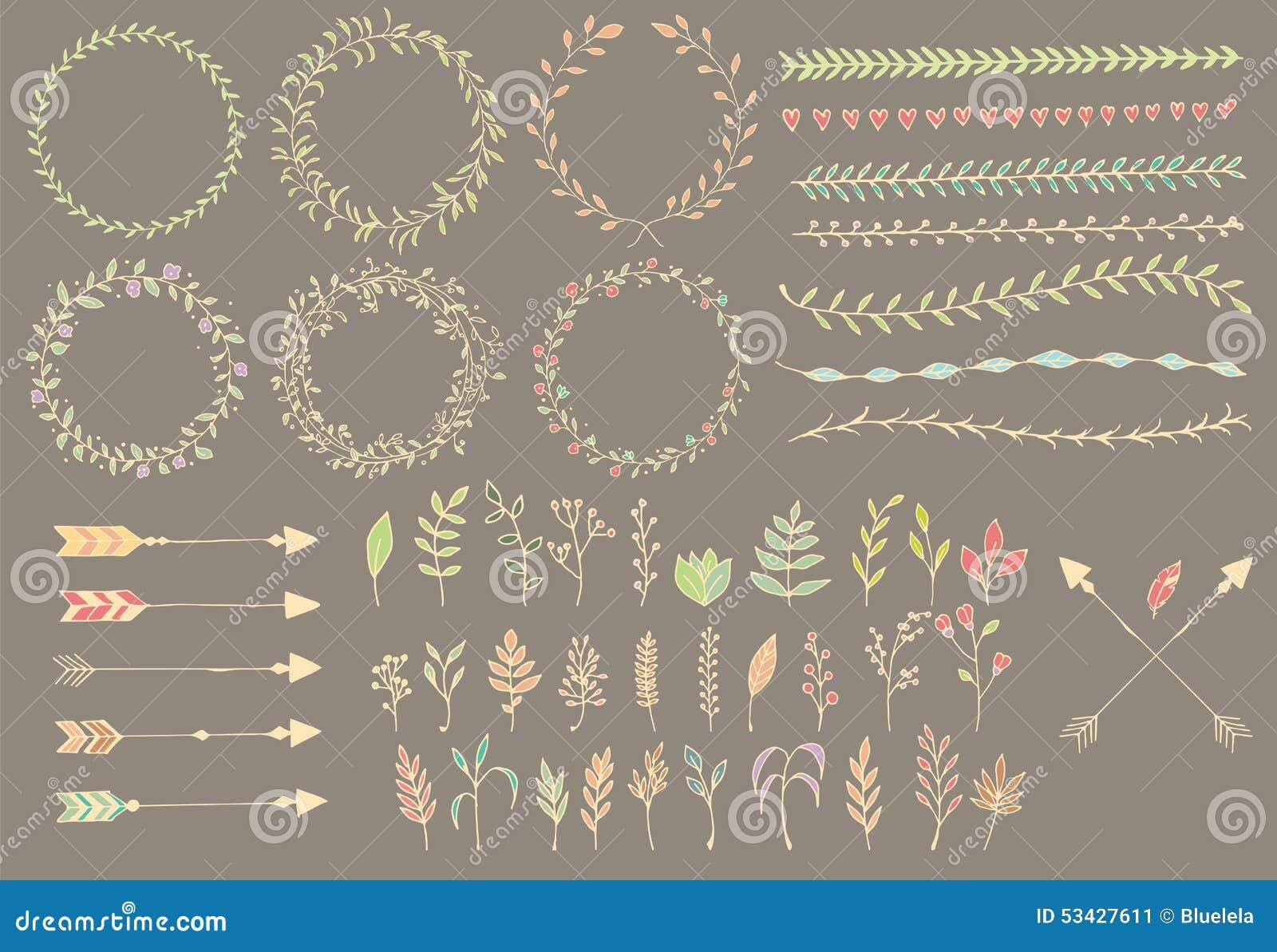 Συρμένα χέρι εκλεκτής ποιότητας βέλη, φτερά, διαιρέτες και floral στοιχεία