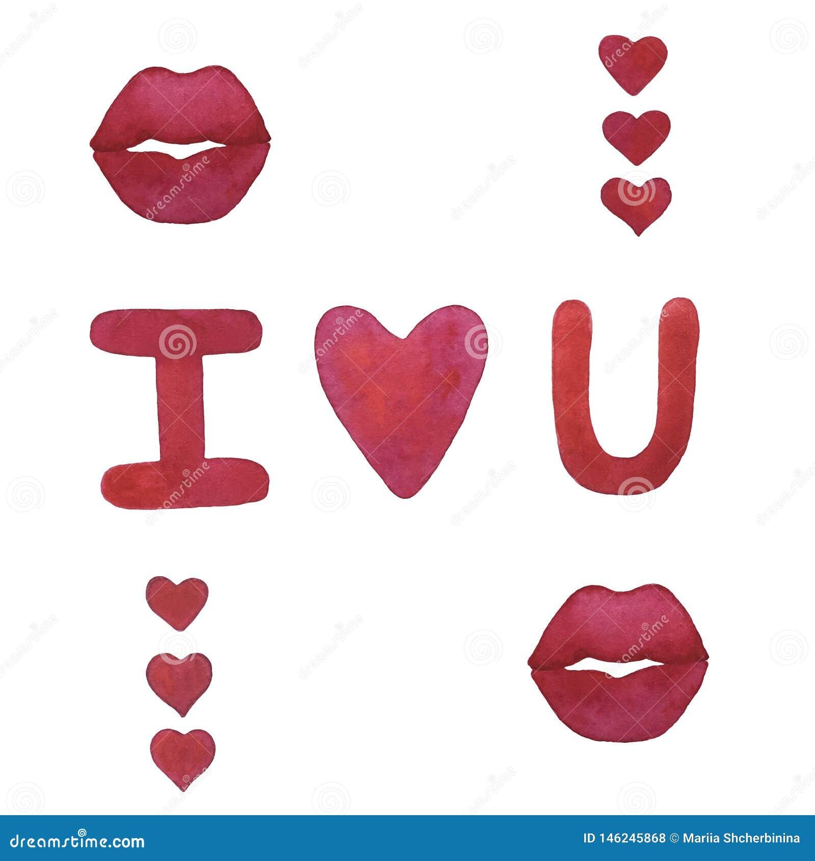 Συρμένα χέρι κόκκινα καρδιές και χείλια watercolor με τις επιστολές