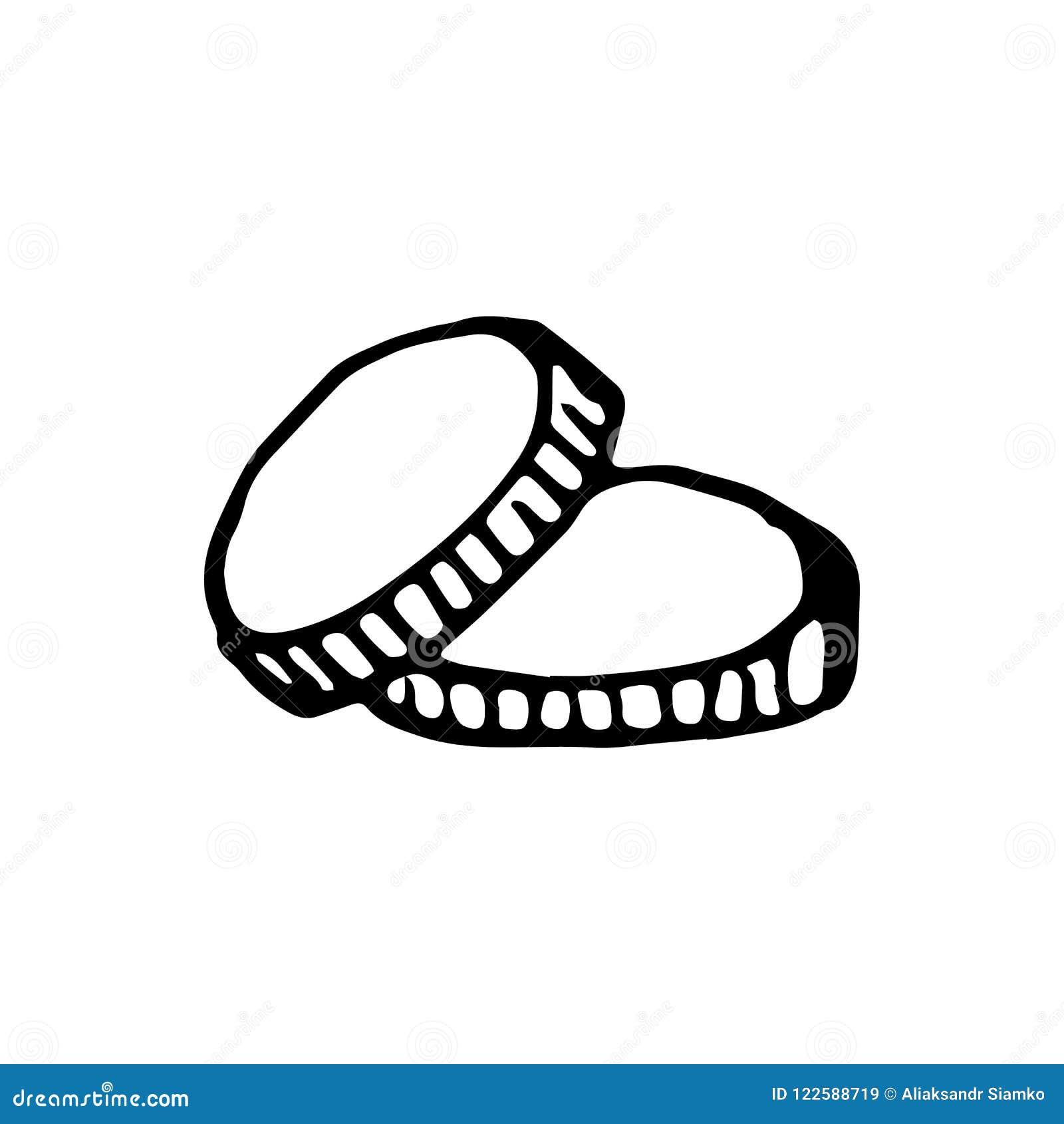 Συρμένα χέρι νομίσματα doodle Εικονίδιο ύφους σκίτσων Στοιχείο διακοσμήσεων