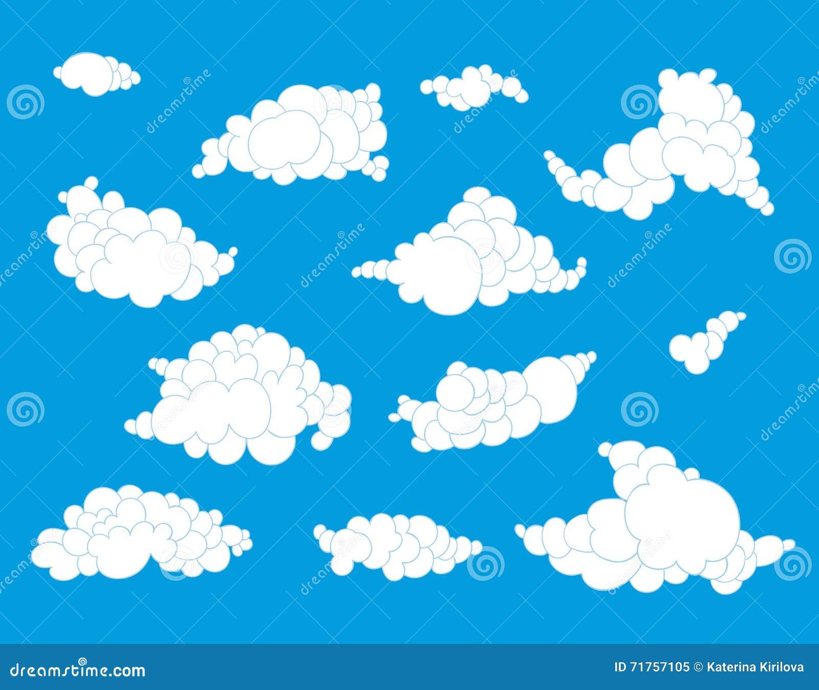Συρμένα χέρι σύννεφα καθορισμένα