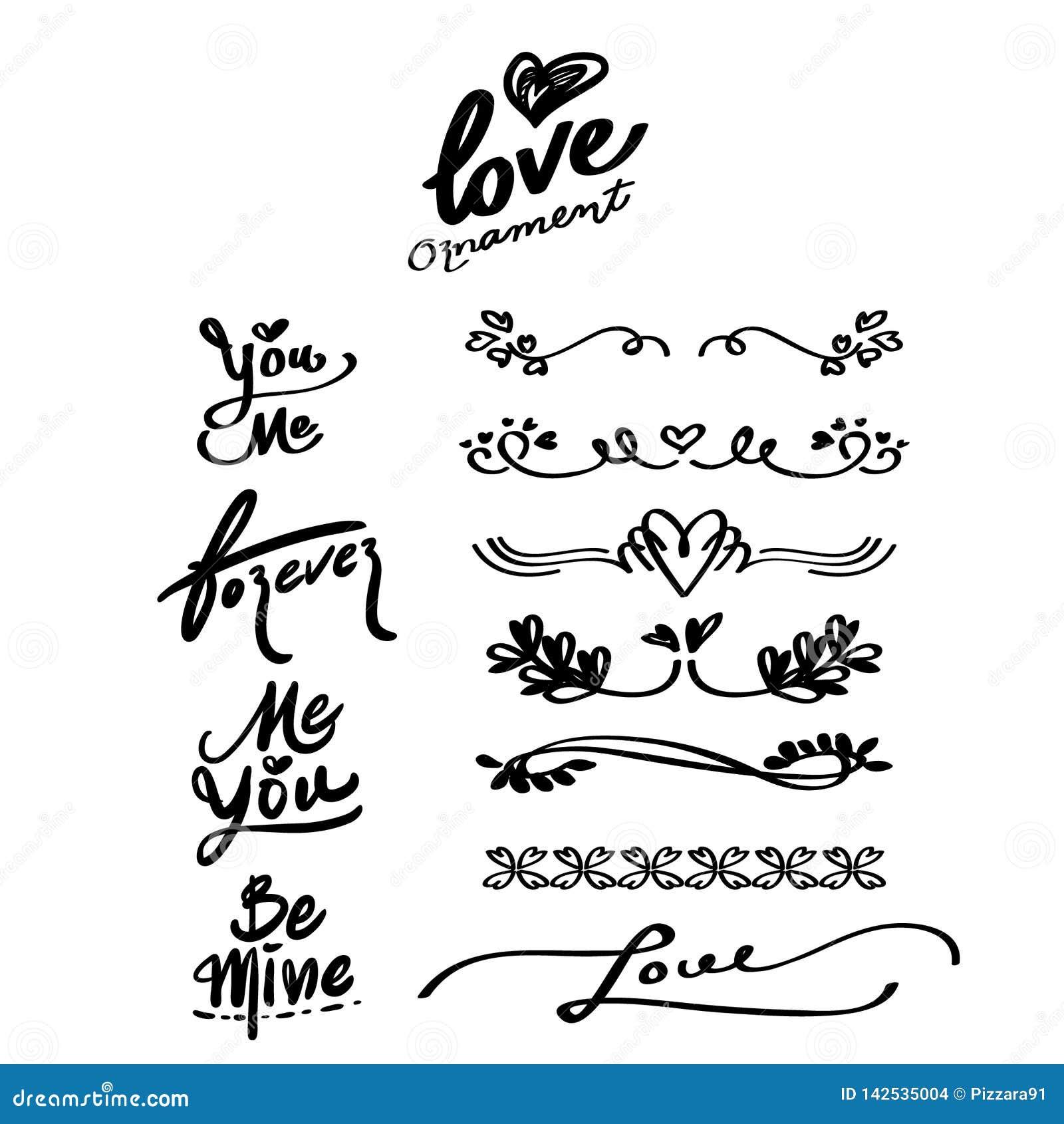 Συρμένες χέρι διακοσμήσεις αγάπης και λέξεις καλλιγραφίας, διαιρέτης