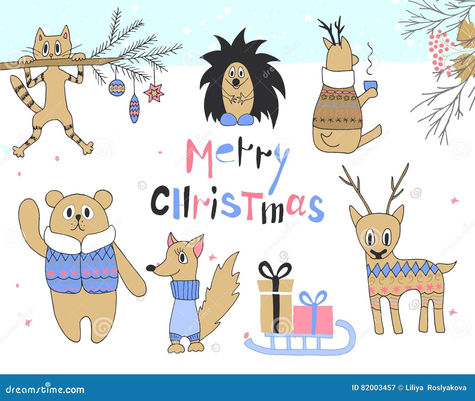 Συρμένη η χέρι κάρτα Χριστουγέννων με τη χαριτωμένη γάτα, σκαντζόχοιρος, ελάφια, σκίουρος, αντέχει σε ένα σακάκι, τα έλκηθρα με τ
