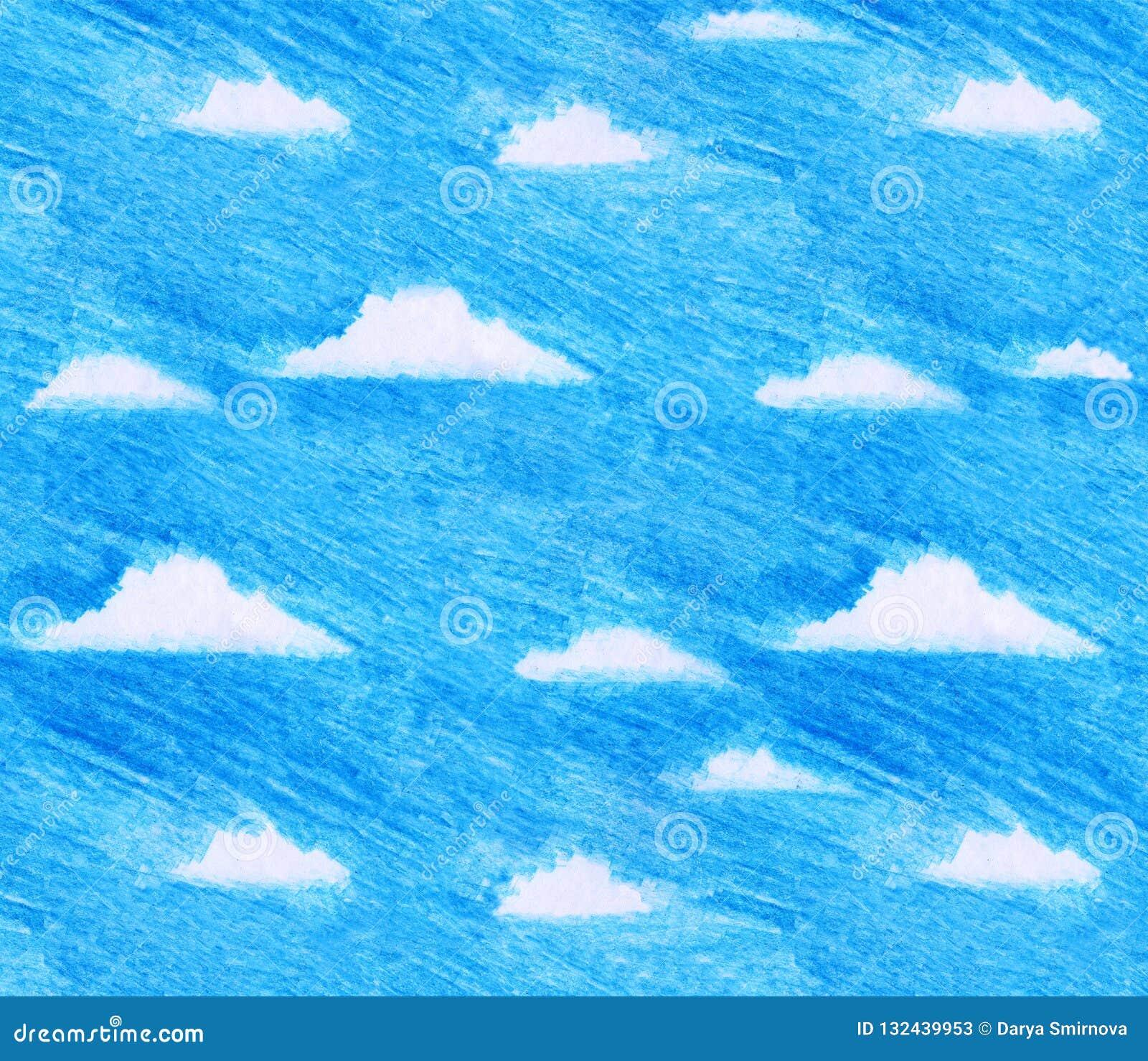 Συρμένη χέρι απεικόνιση των παιδιών του μπλε ουρανού και των άσπρων σύννεφων στο ελεύθερο ύφος μολυβιών χρώματος