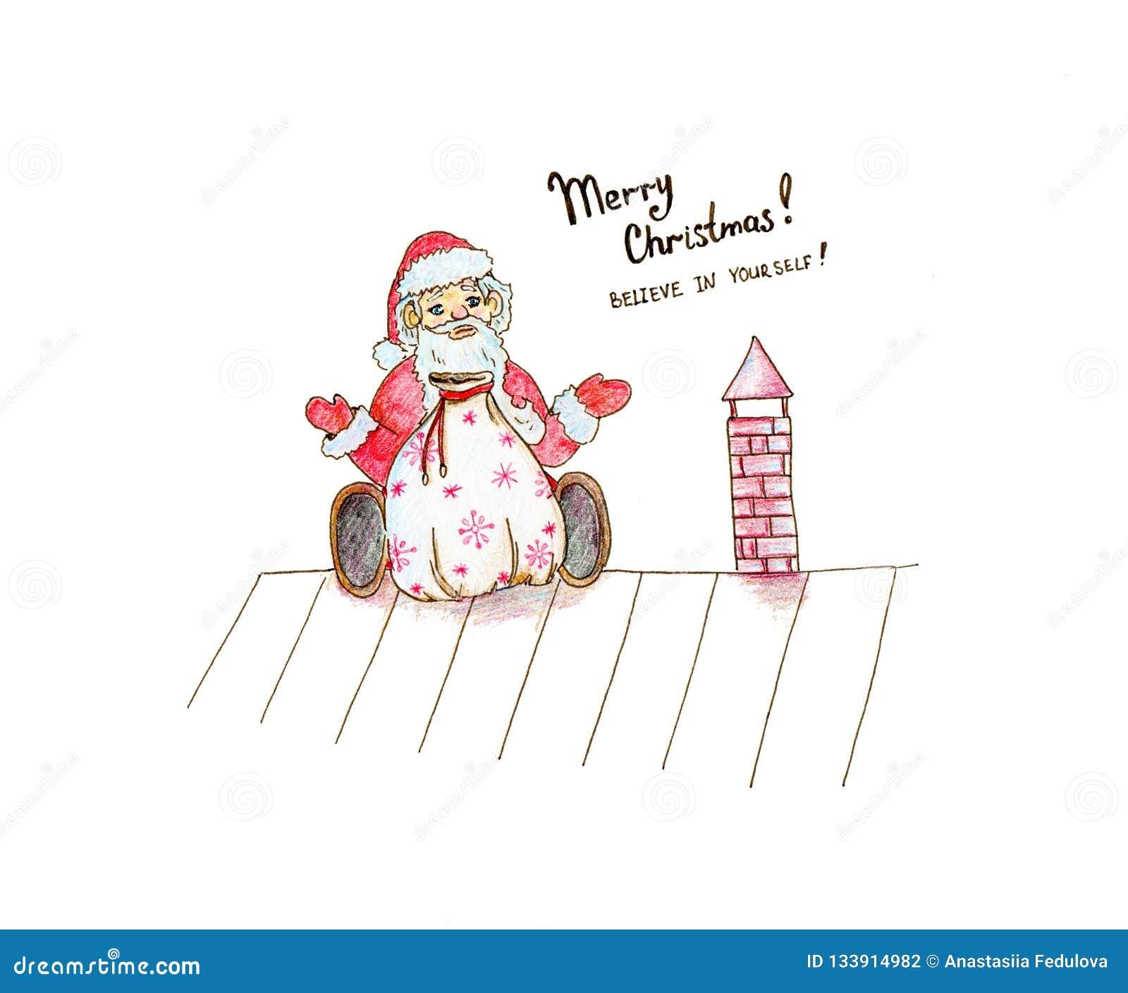 Συρμένη χέρι απεικόνιση Χριστουγέννων για την αστεία συνεδρίαση Άγιος Βασίλης κινούμενων σχεδίων