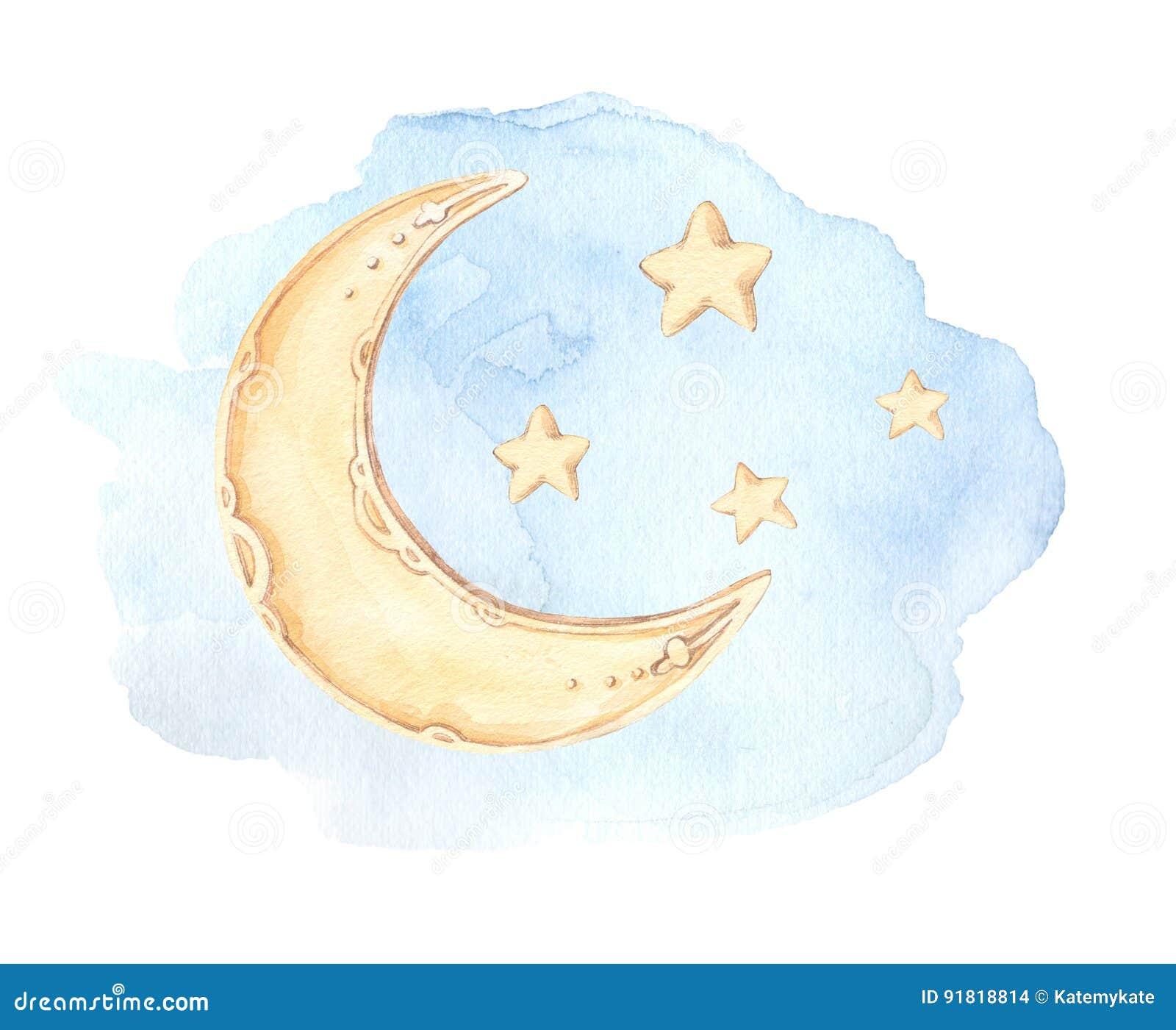 Συρμένη χέρι απεικόνιση watercolor - φεγγάρι ύπνου καληνύχτας,