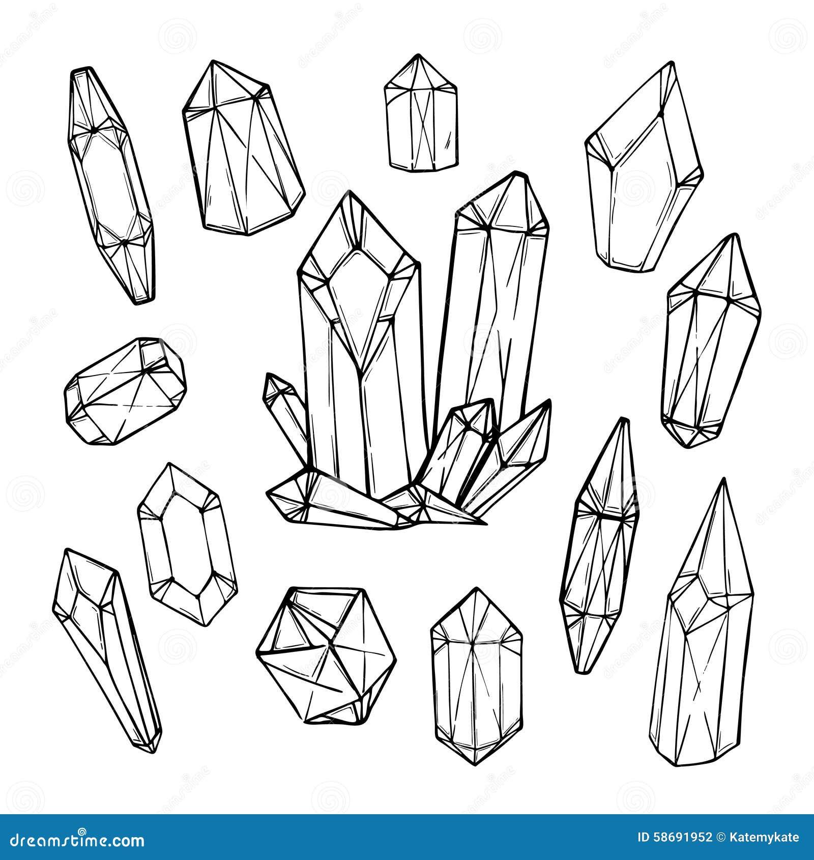 Συρμένη χέρι διανυσματική απεικόνιση - σύνολο γεωμετρικών κρυστάλλων