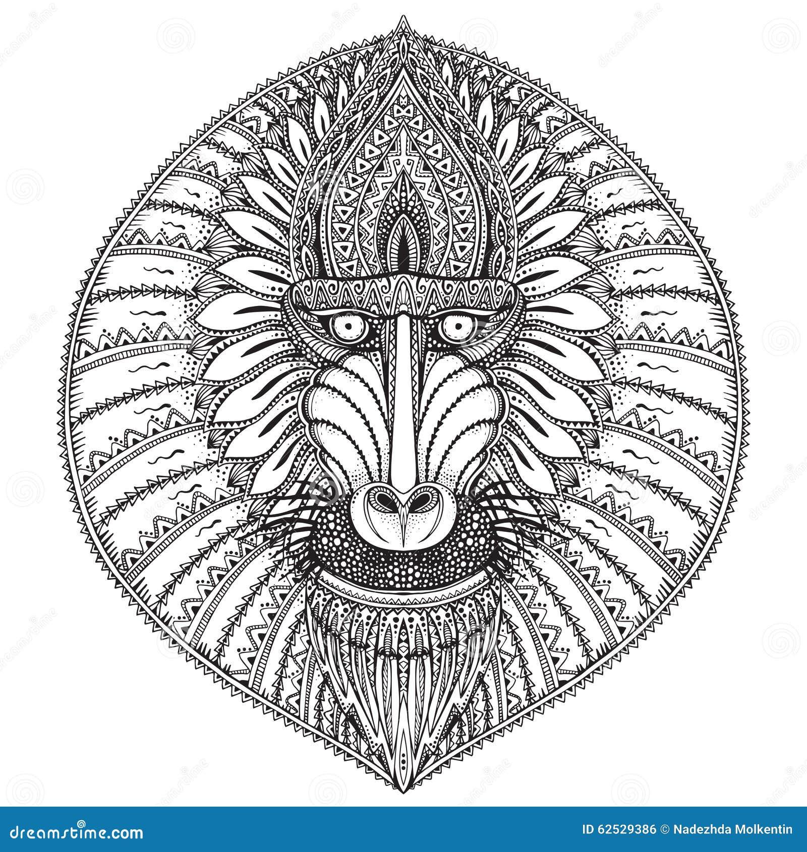 Συρμένη χέρι διανυσματική περίκομψη baboon απεικόνιση προσώπου
