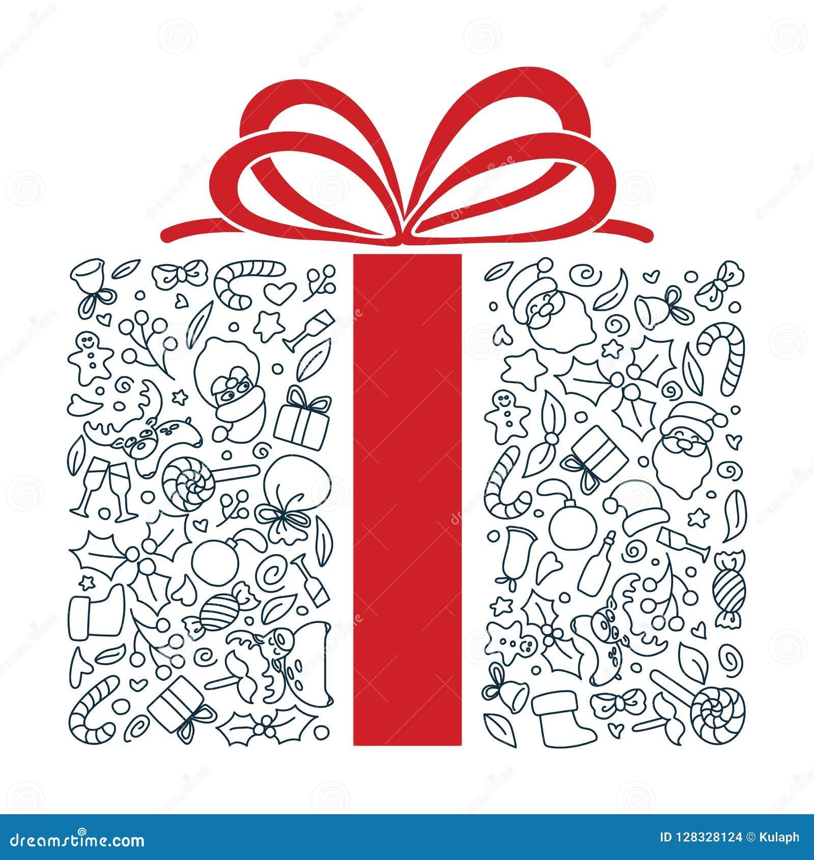 Συρμένη χέρι τέχνη μορφής δώρων doodle Κτύπημα Editable