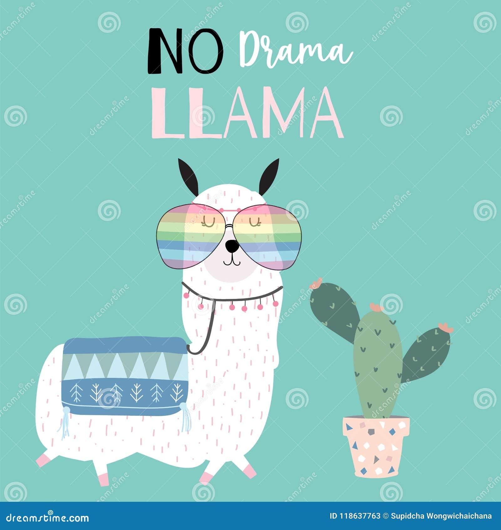 Συρμένη χέρι χαριτωμένη κάρτα με llama, τα γυαλιά και τον κάκτο llama όχι ο Δρ