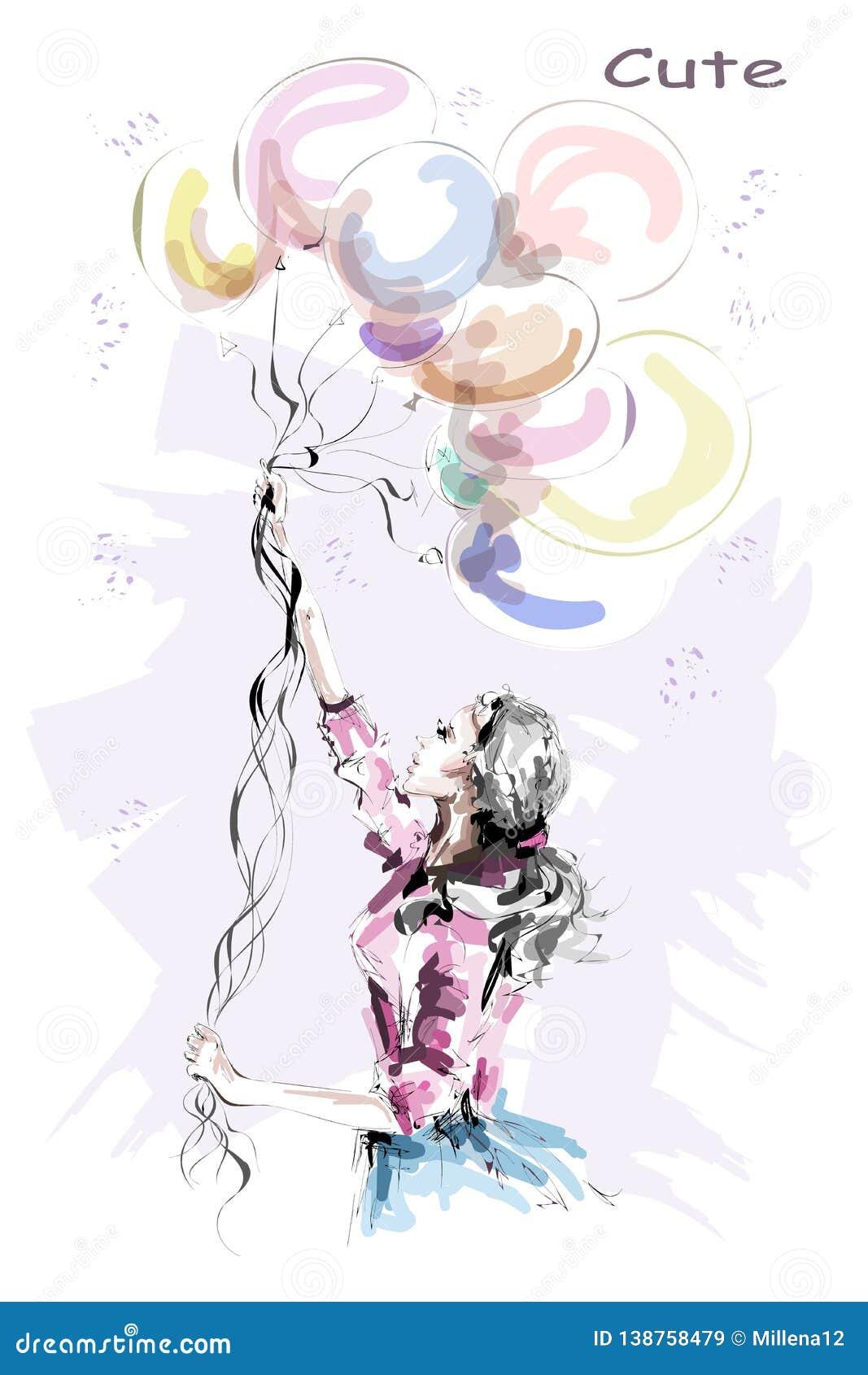 Συρμένη χέρι όμορφη νέα γυναίκα που κρατά τα ζωηρόχρωμα μπαλόνια Μοντέρνο ξανθό κορίτσι τρίχας Γυναίκα μόδας με τα μπαλόνια