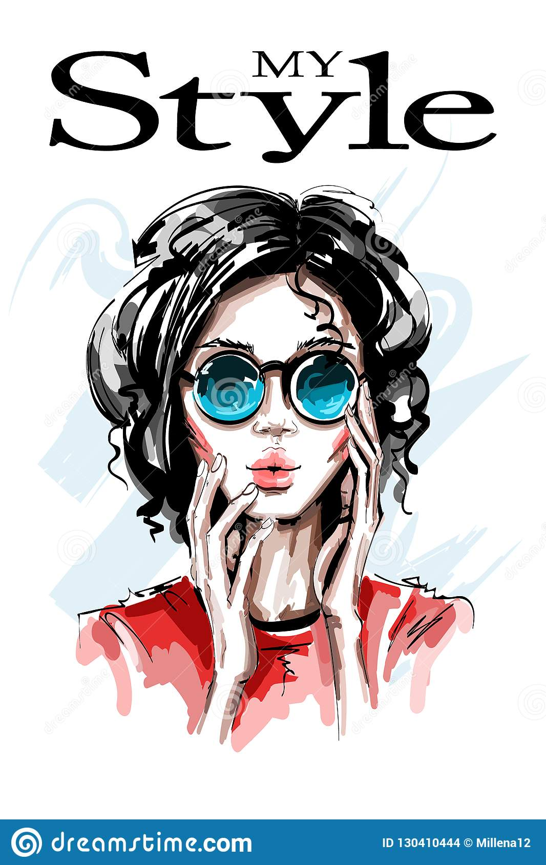Συρμένη χέρι όμορφη νέα γυναίκα στα γυαλιά ηλίου Μοντέρνο κομψό κορίτσι γυναίκα πορτρέτου μόδας