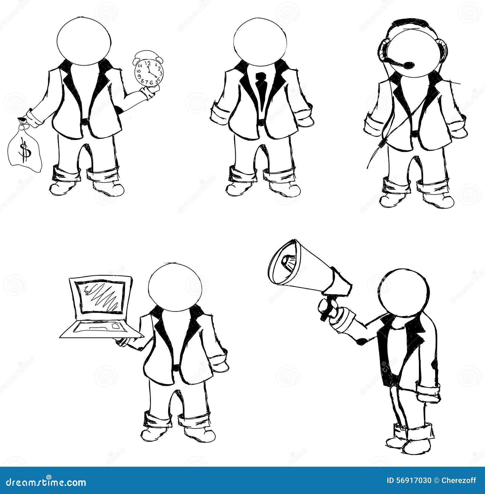 Συρμένοι άνθρωποι μαριονετών επίσης corel σύρετε το διάνυσμα απεικόνισης