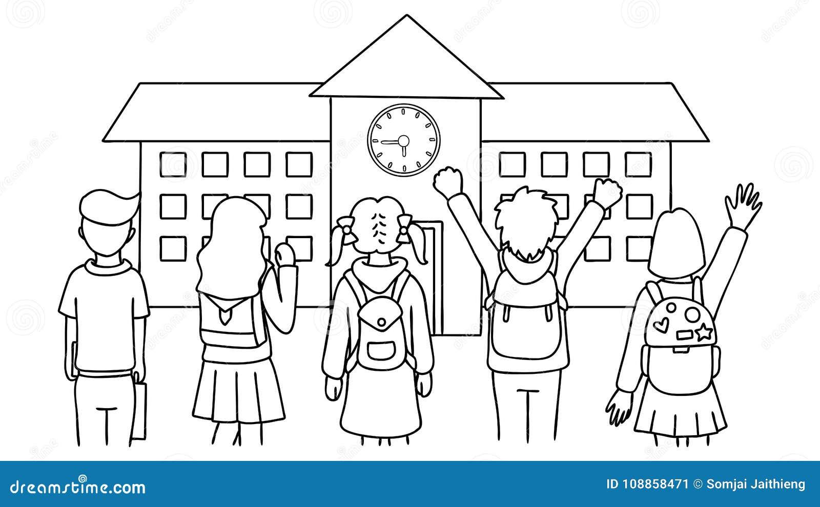 Συρμένοι χέρι σπουδαστές που στέκονται μπροστά από το σχολικό σπίτι, πίσω στο σχολείο, για το στοιχείο σχεδίου και τη χρωματίζοντ