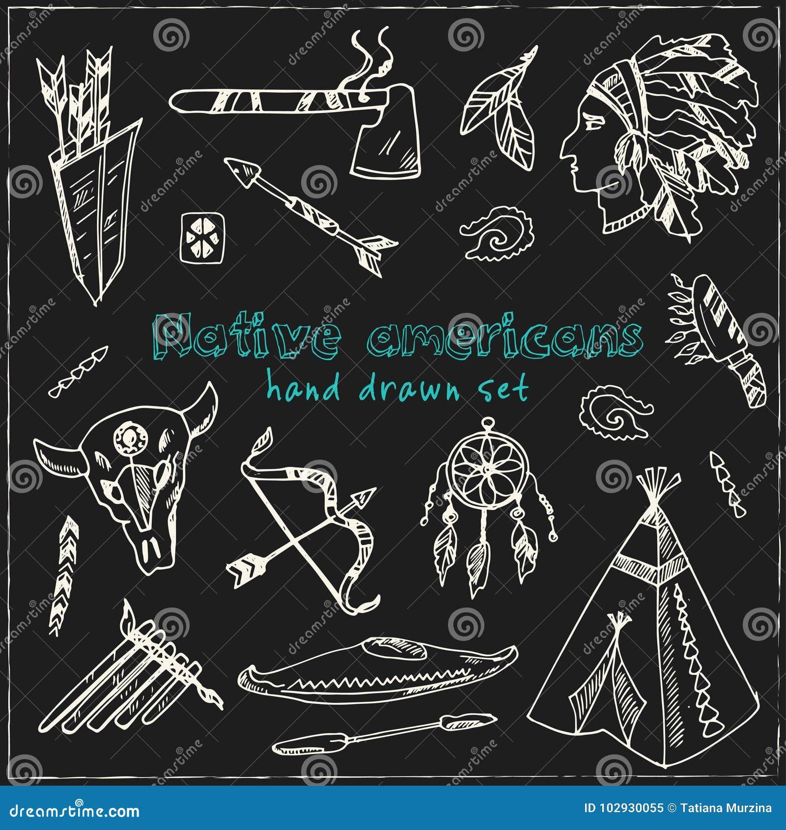 Συρμένοι χέρι doodle αμερικανοί ιθαγενείς καθορισμένοι