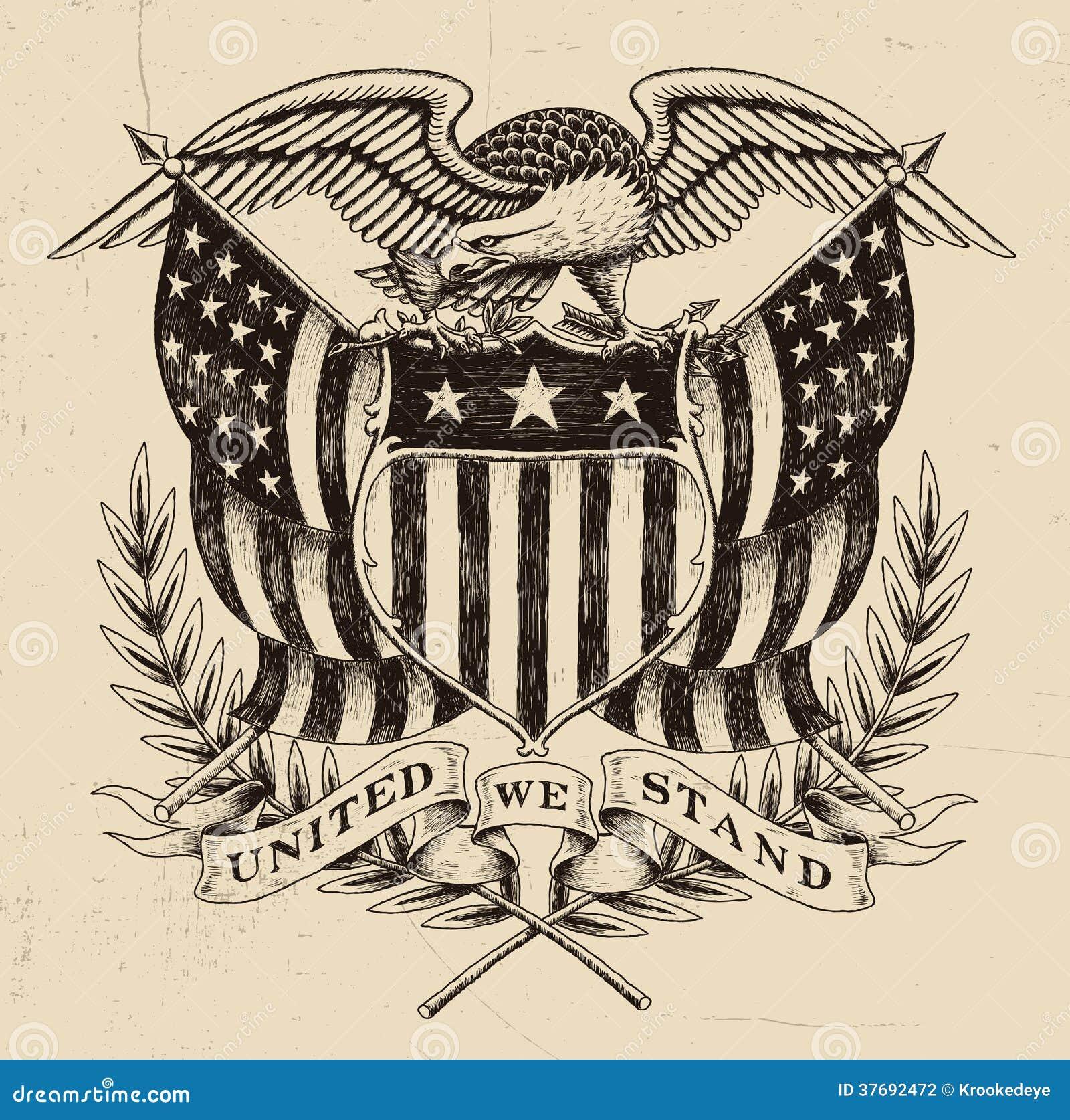 Συρμένος χέρι αμερικανικός αετός Linework