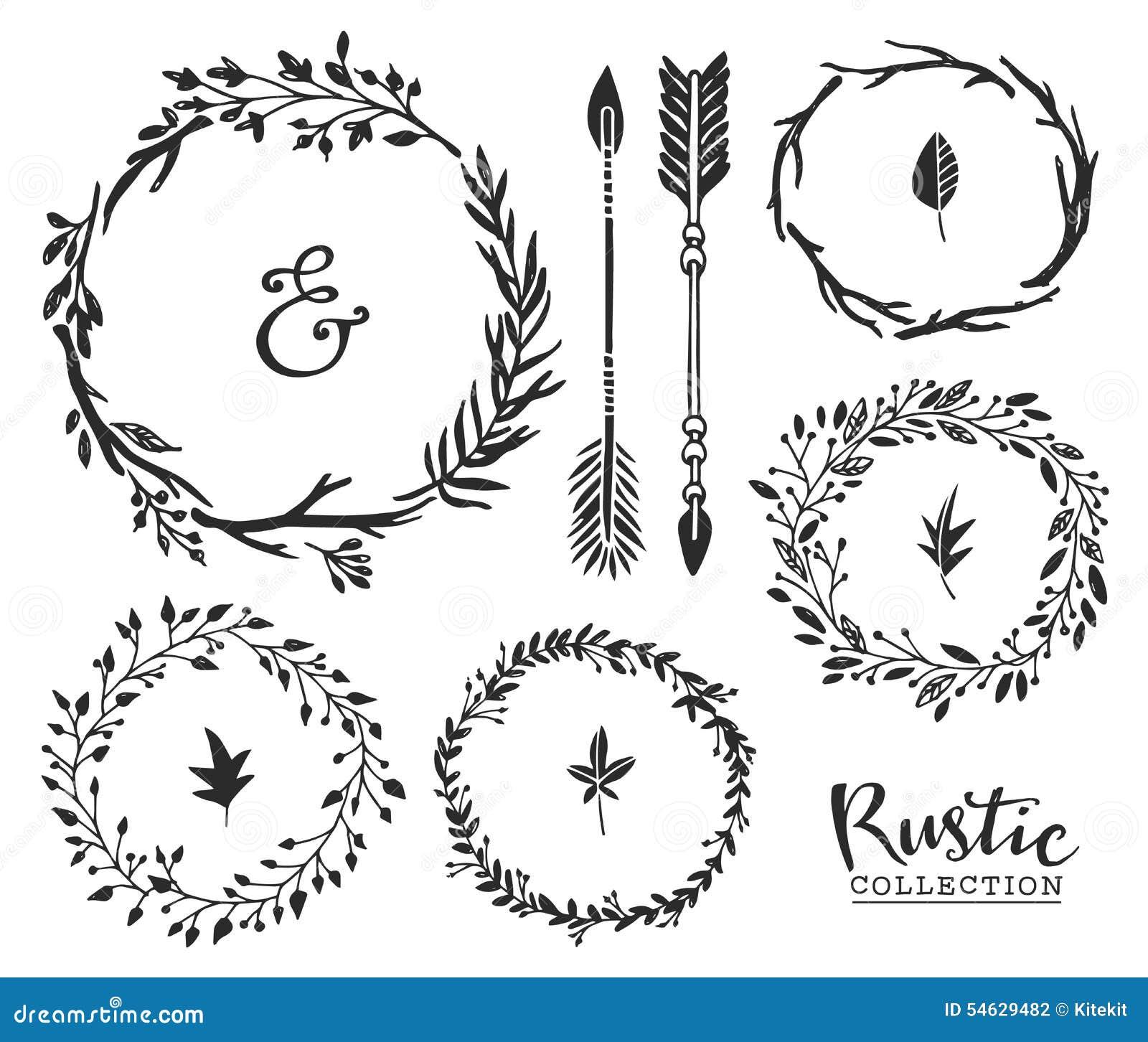 Συρμένος χέρι τρύγος ampersand, βέλη και στεφάνια Αγροτικό decorat