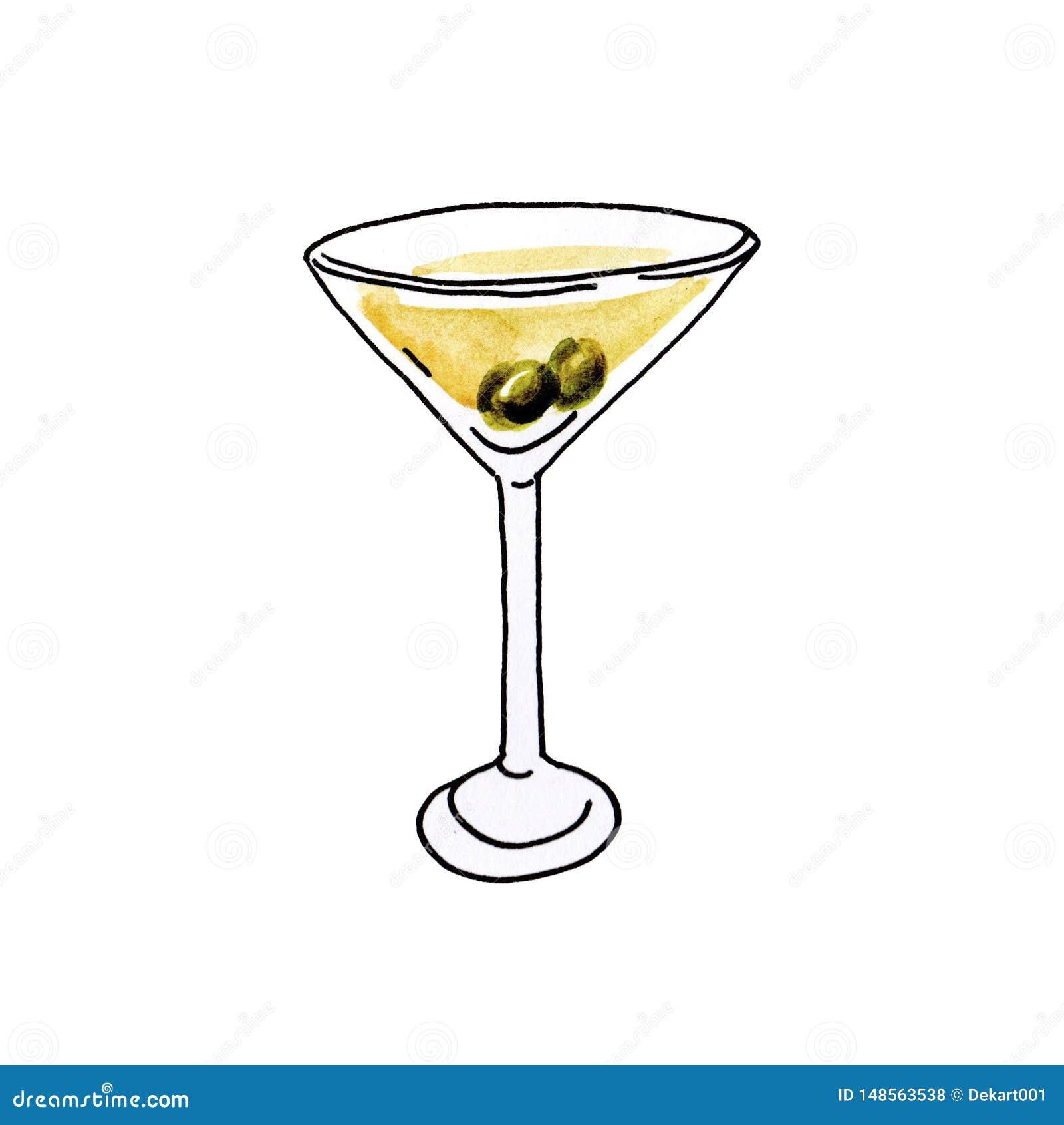 Συρμένο γυαλί απεικόνισης Watercolor χέρι martini με τις ελιές στο άσπρο υπόβαθρο