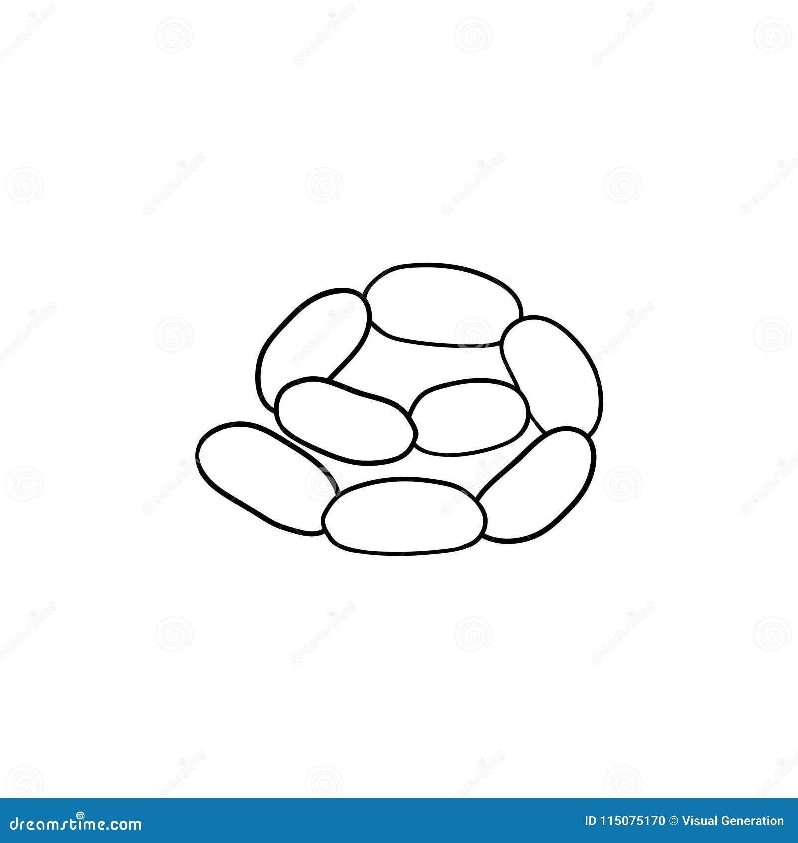 Συρμένο εικονίδιο σκίτσων αλυσίδων λουκάνικων χέρι