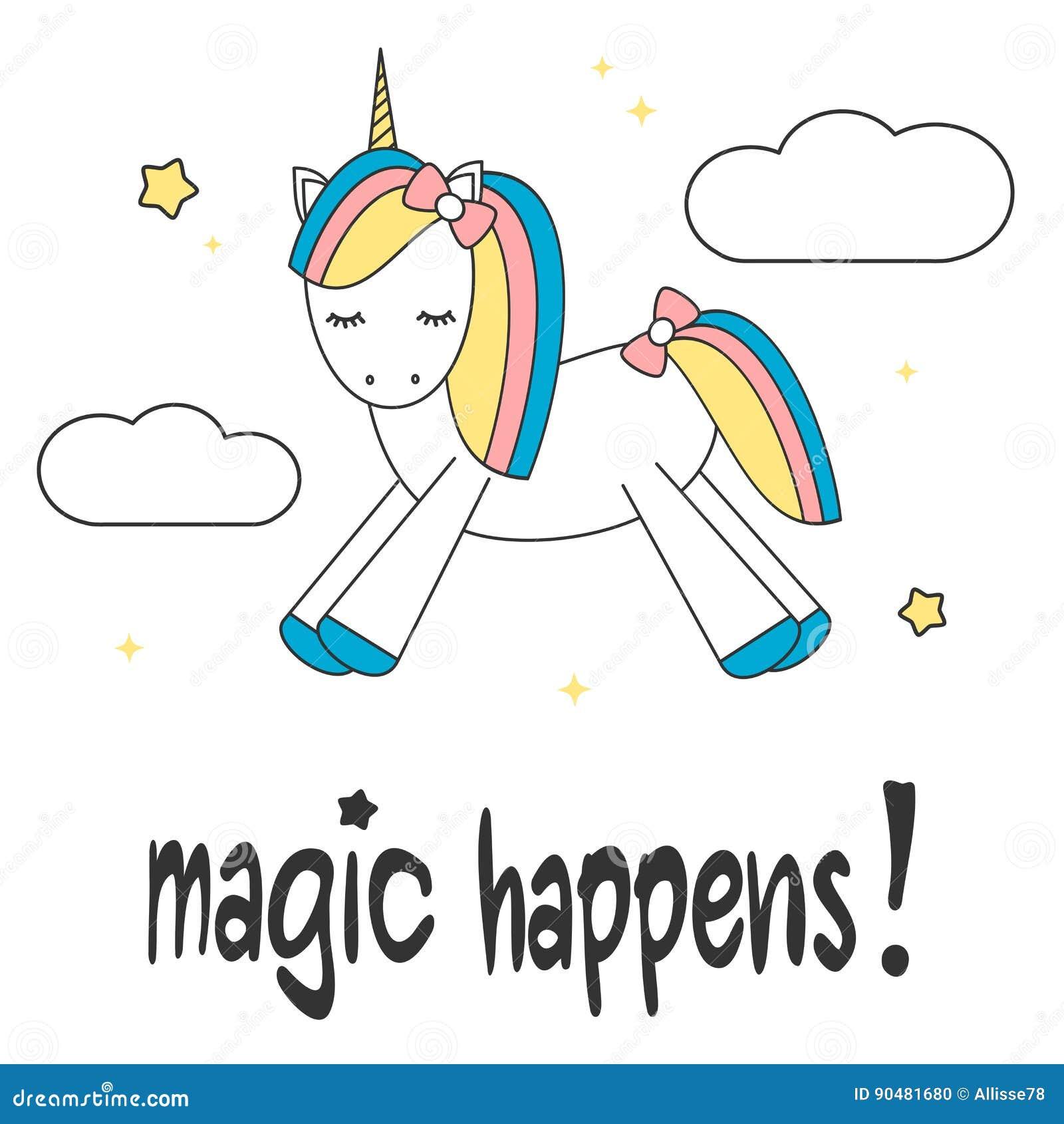 Συρμένο το χέρι σύνθημα εγγραφής μαγικό συμβαίνει κινητήρια κάρτα με το χαριτωμένο ζωηρόχρωμο μονόκερο κινούμενων σχεδίων στον ου