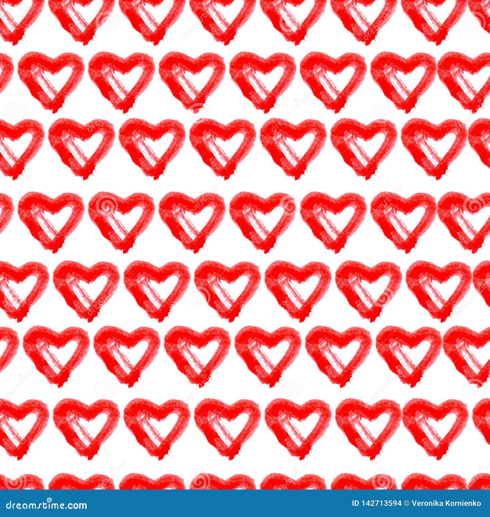 Συρμένο χέρι άνευ ραφής κόκκινο υπόβαθρο καρδιών