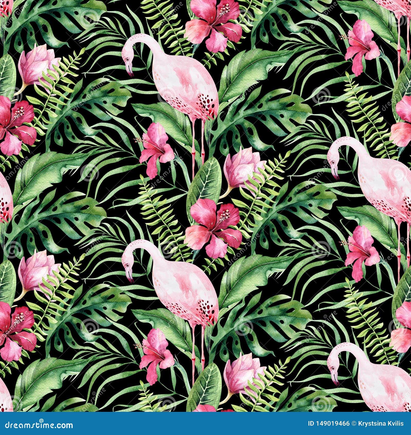 Συρμένο χέρι άνευ ραφής σχέδιο φλαμίγκο πουλιών watercolor τροπικό Εξωτικός αυξήθηκε απεικονίσεις πουλιών, δέντρο ζουγκλών, Βραζι