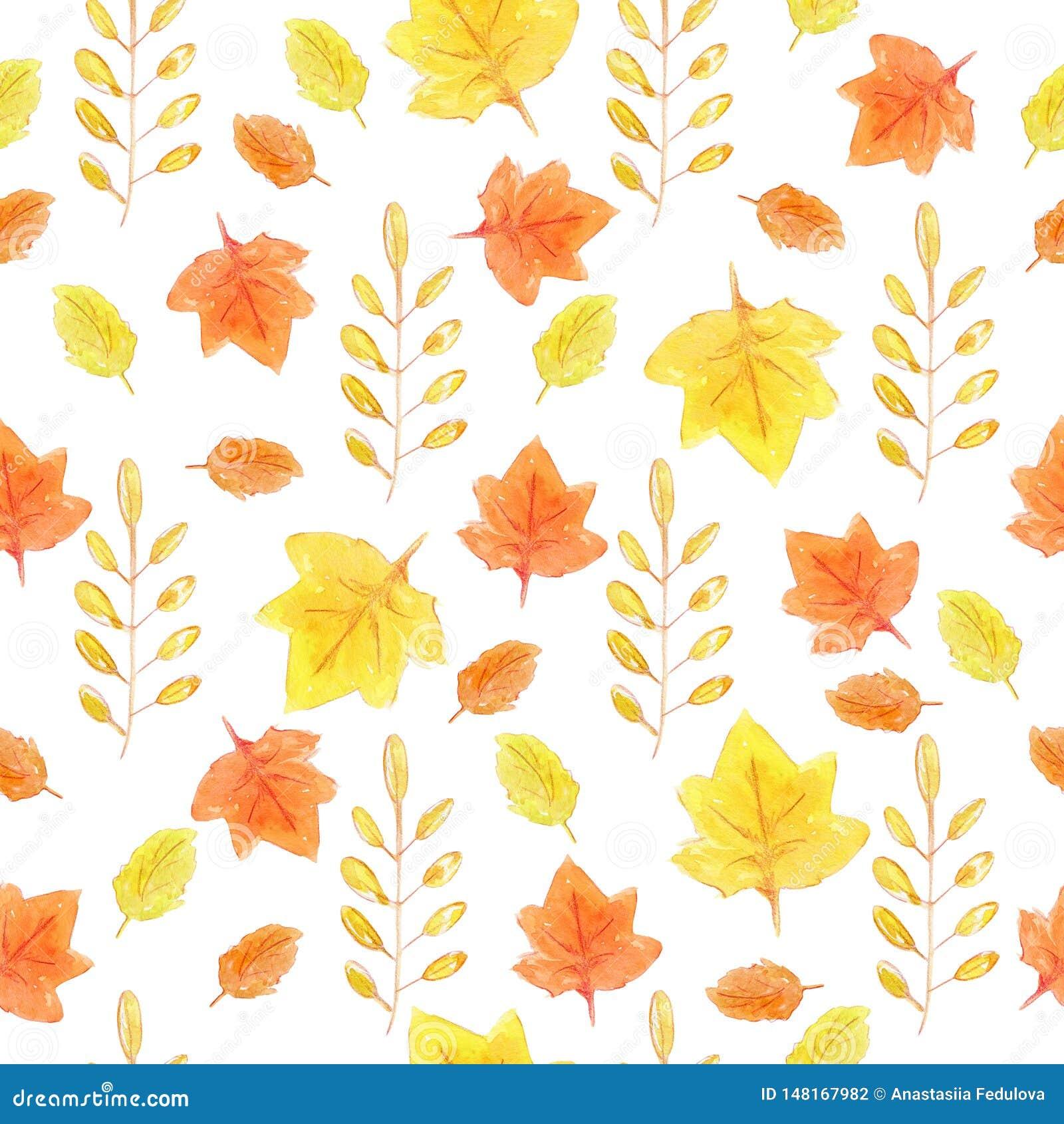 Συρμένο χέρι άνευ ραφής σχέδιο Watercolor με τα κίτρινα και πορτοκαλιά φύλλα φθινοπώρου