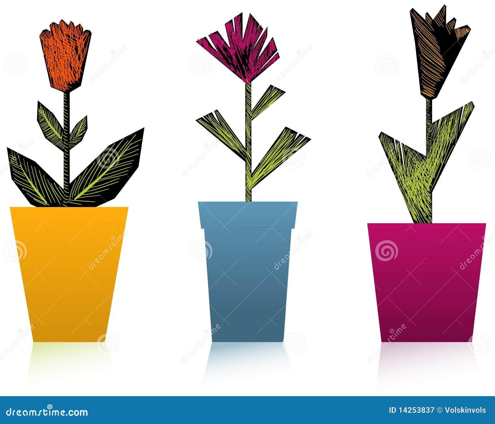 συρμένο χέρι λουλουδιών