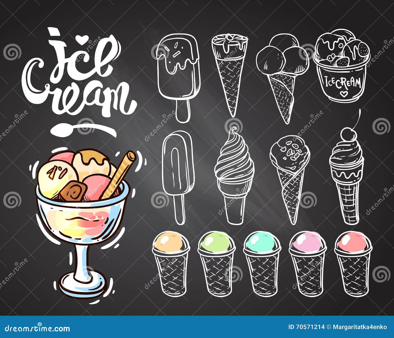 συρμένο χέρι παγωτό