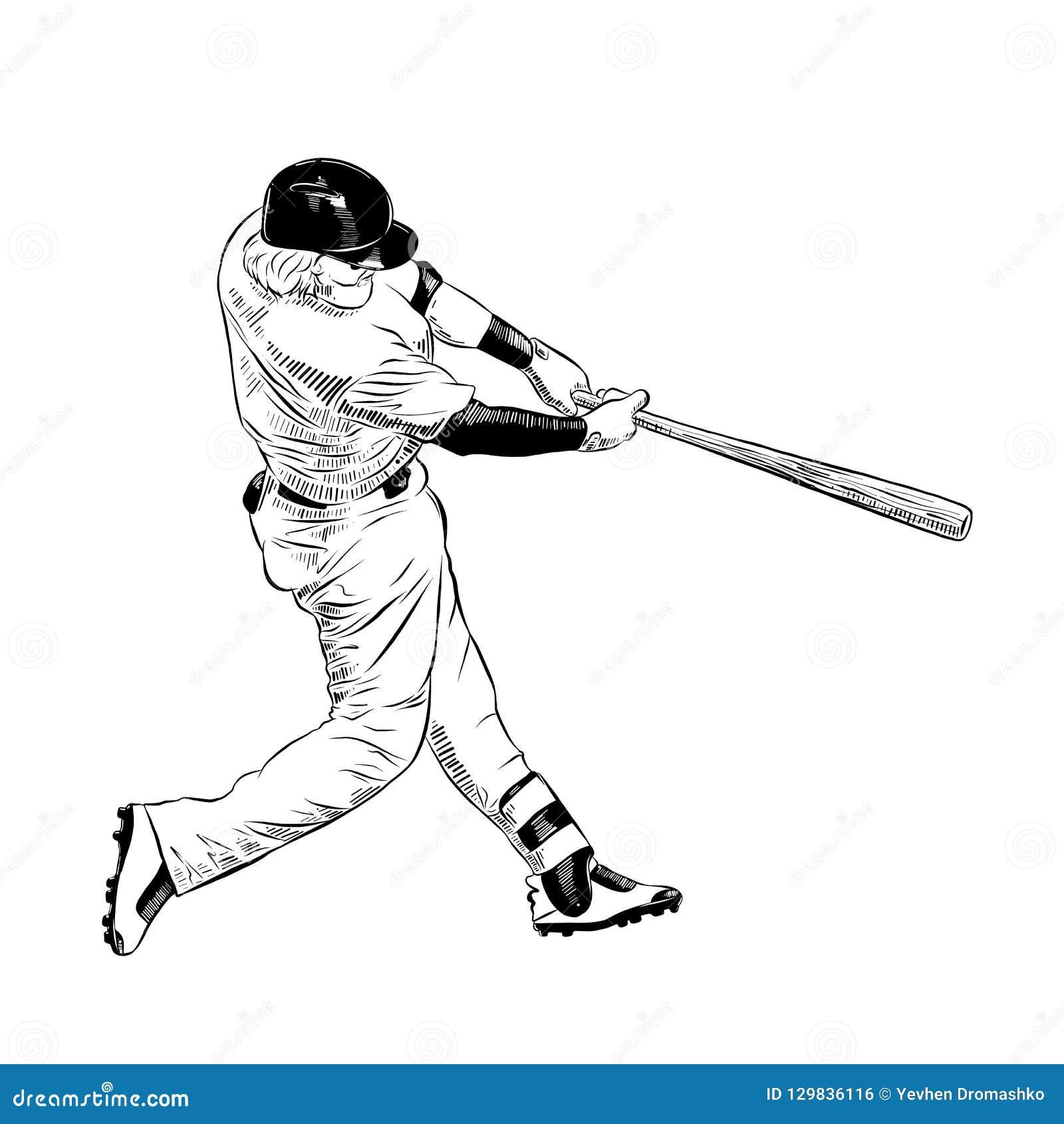 Συρμένο χέρι σκίτσο του παίχτη του μπέιζμπολ στο Μαύρο που απομονώνεται στο άσπρο υπόβαθρο Λεπτομερές εκλεκτής ποιότητας σχέδιο ύ