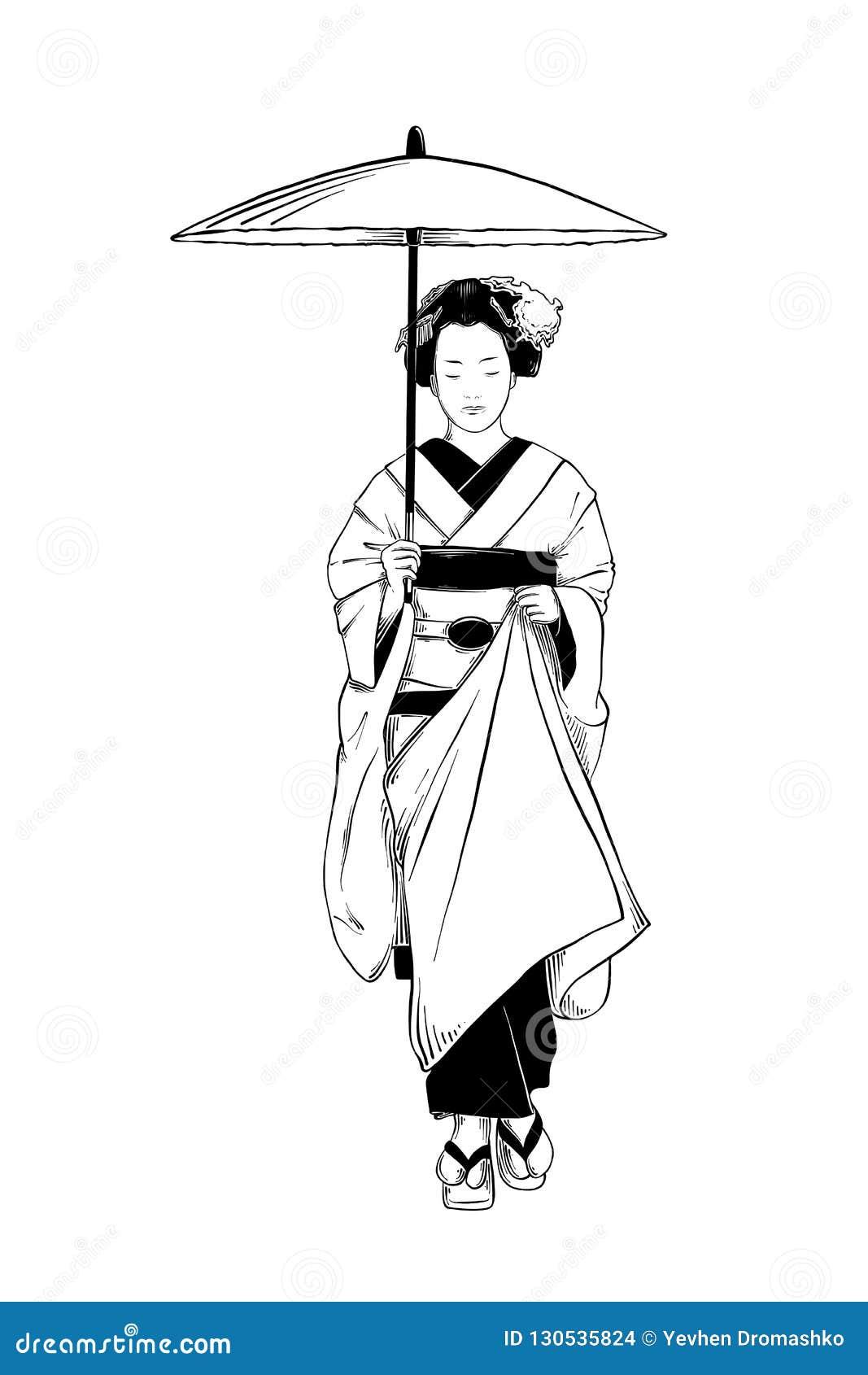 Συρμένο χέρι σκίτσο των ιαπωνικών γκείσων που απομονώνεται στο άσπρο υπόβαθρο Λεπτομερές εκλεκτής ποιότητας σχέδιο χαρακτικής