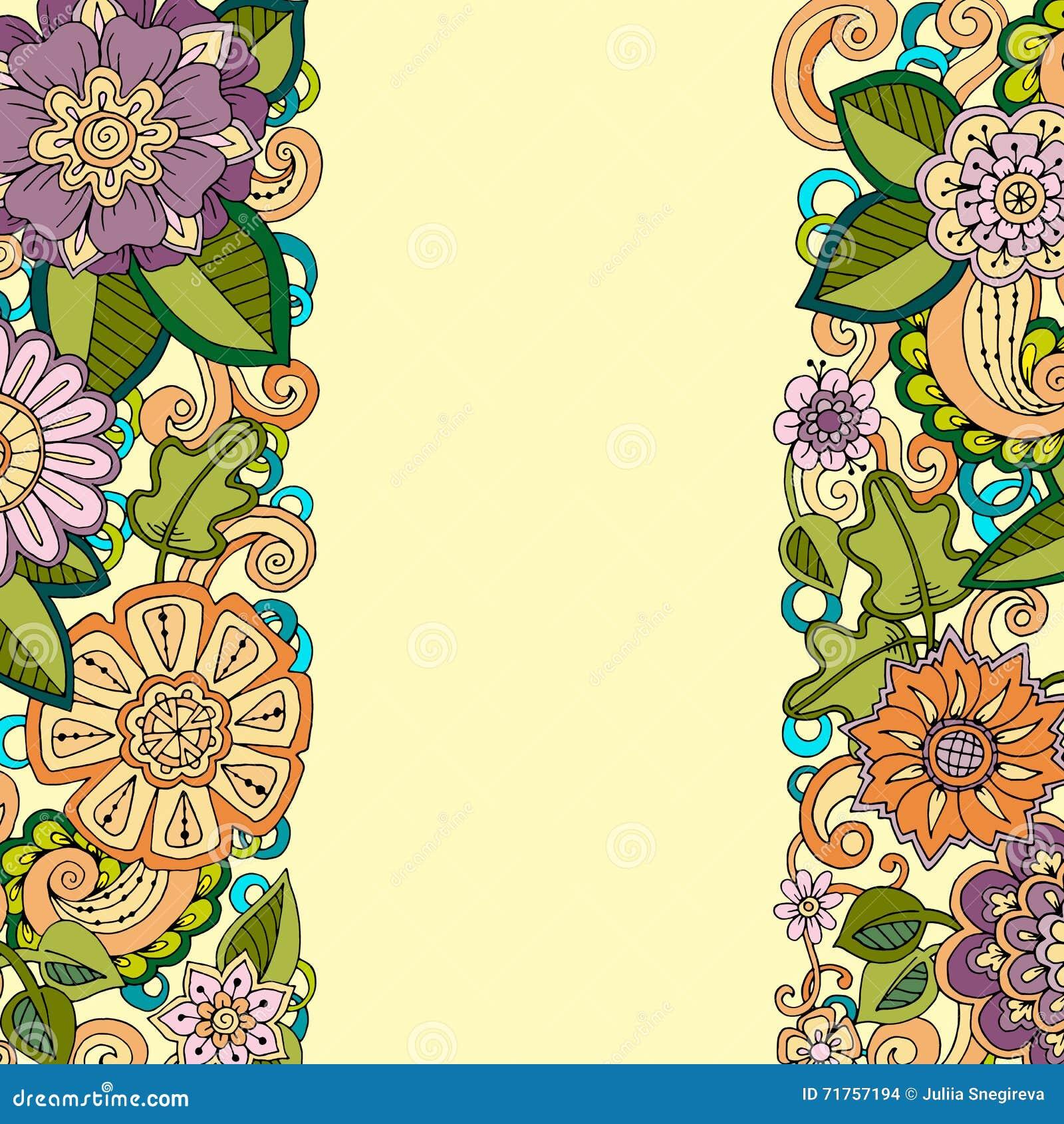 Συρμένο χέρι σχέδιο με τα αφηρημένα λουλούδια και τα φύλλα doodle Το Zentangle ενέπνευσε το floral σχέδιο
