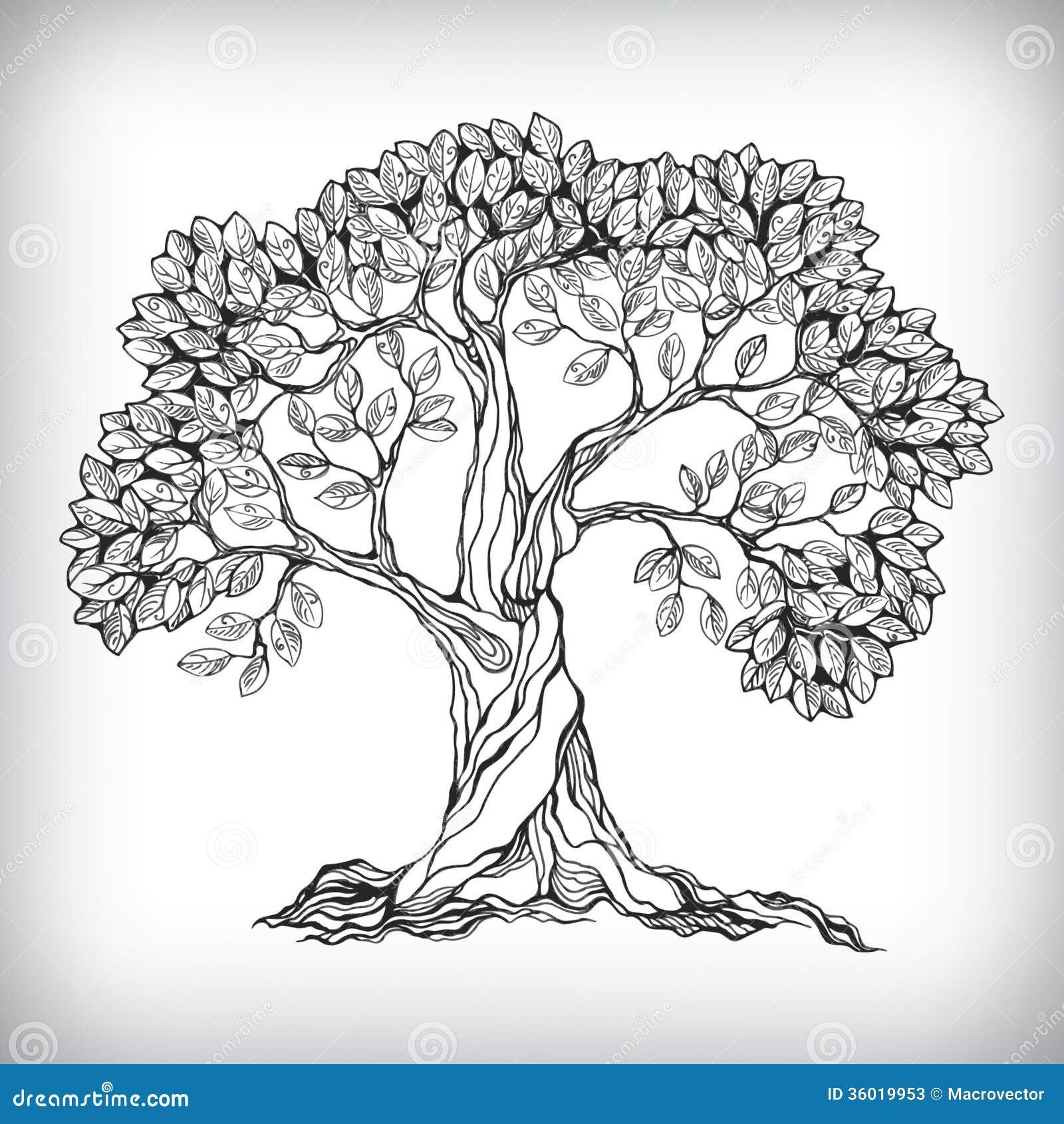 Συρμένο χέρι σύμβολο δέντρων