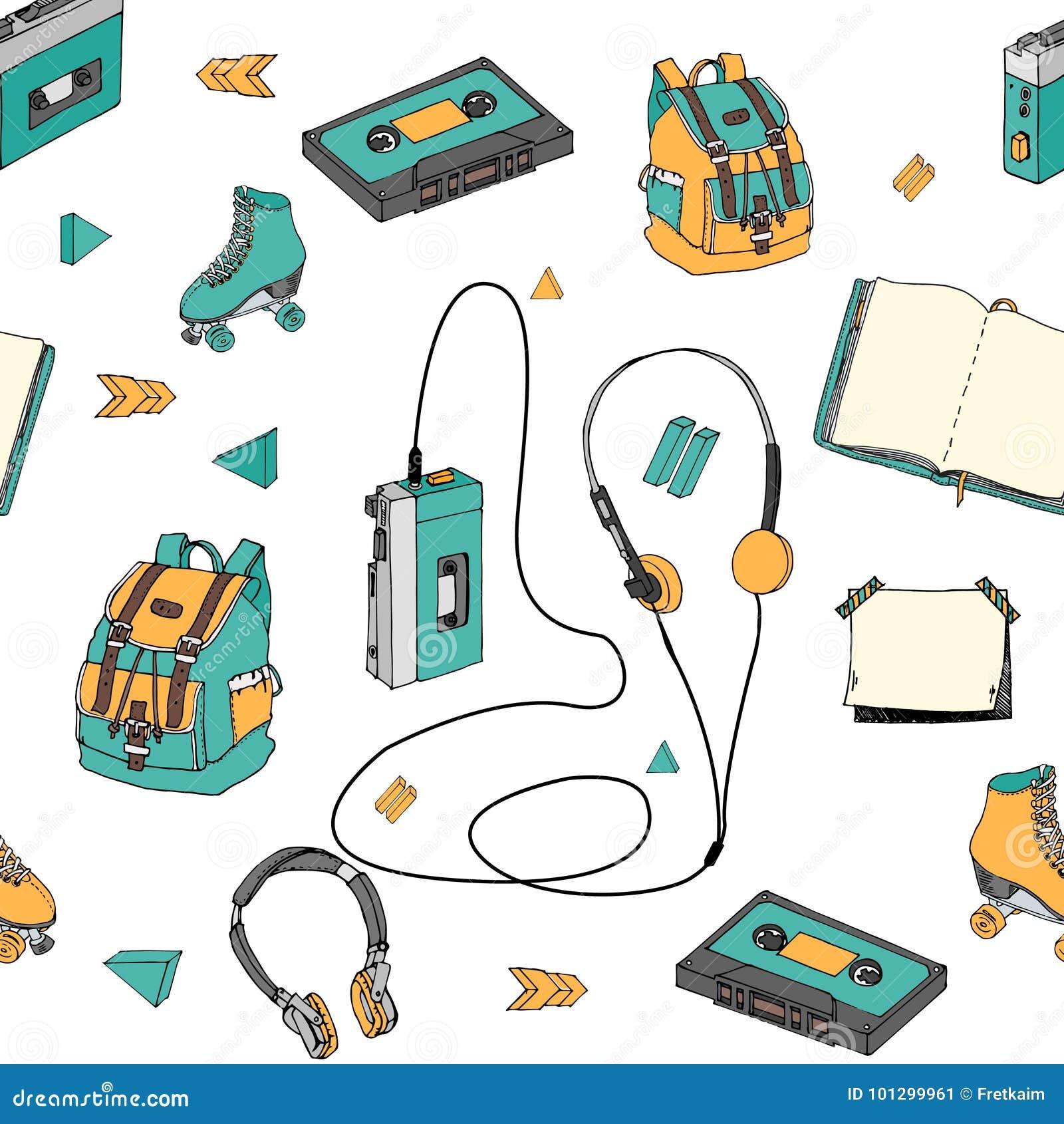 Συρμένο χέρι doodle άνευ ραφής σχέδιο με τα στοιχεία εφήβων Ο αναδρομικός ακουστικός φορέας, κασέτα, ακουστικά, κύλινδρος κάνει π