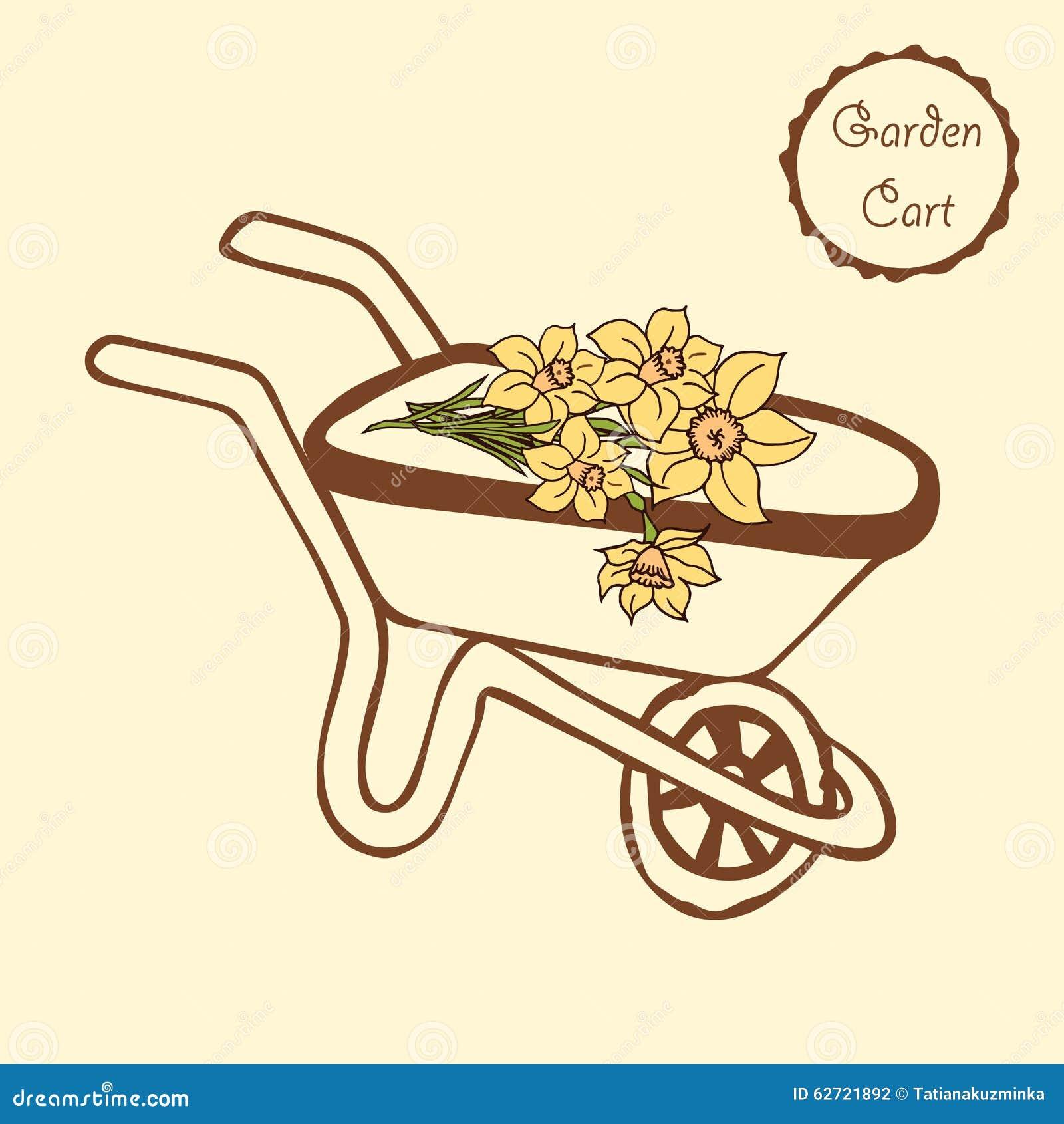 Συρμένο χέρι wheelbarrow με τα λουλούδια για την κηπουρική