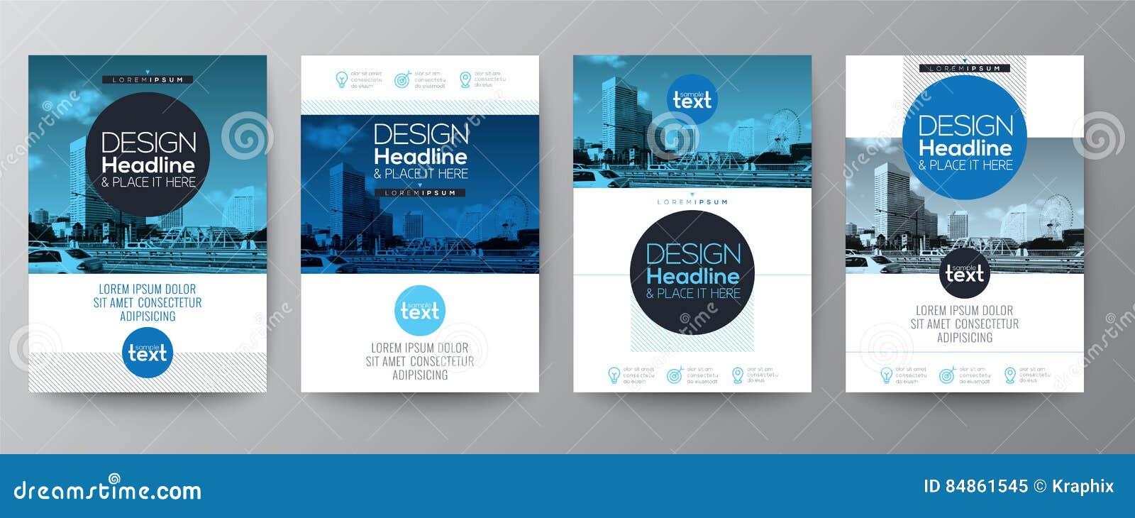 Συλλογή του προτύπου σχεδίου σχεδιαγράμματος κάλυψης φυλλάδιων ιπτάμενων αφισών
