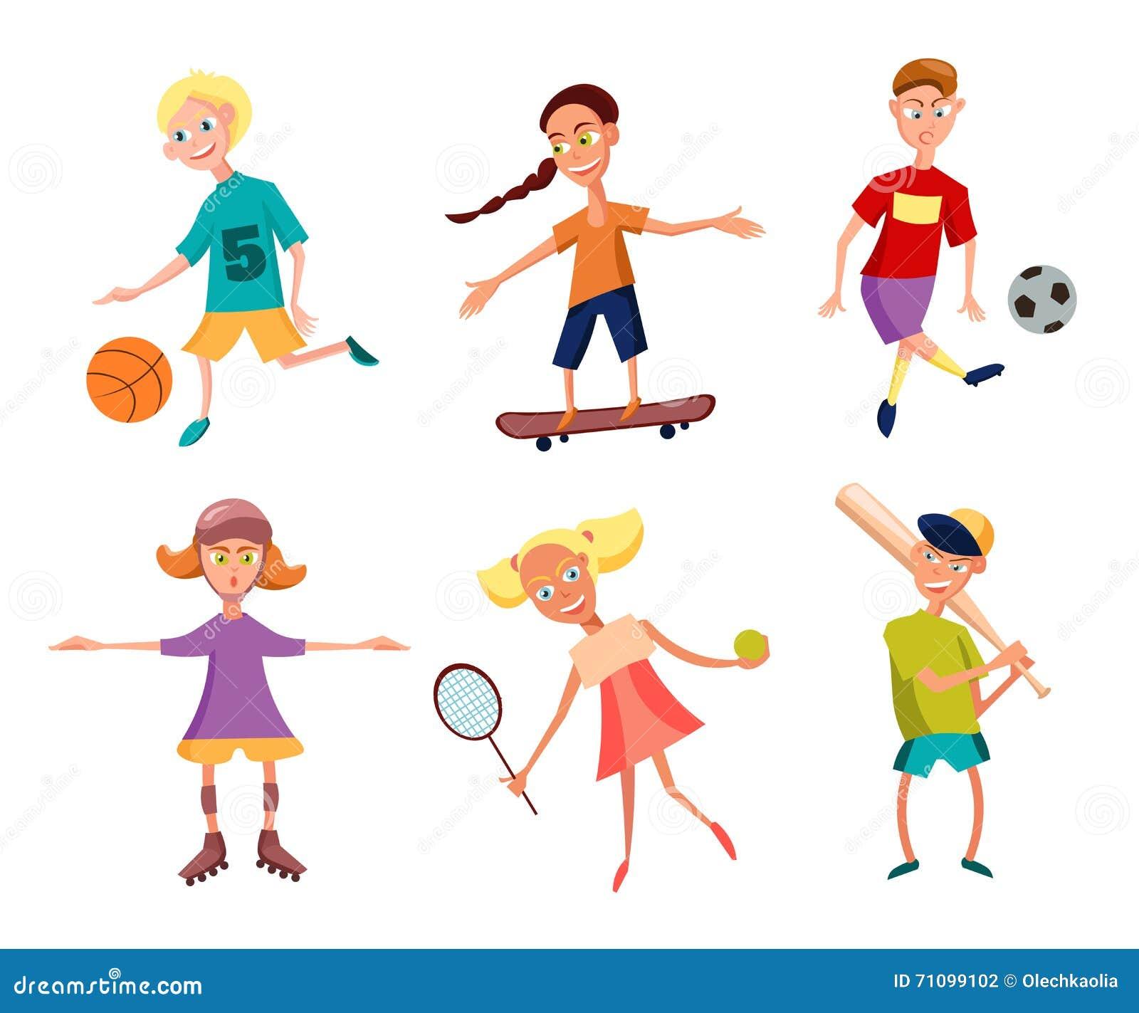 Συλλογή των χαριτωμένων ευτυχών παιδιών που παίζουν τον αθλητισμό δραστήρια κατσίκια επίσης corel σύρετε το διάνυσμα απεικόνισης