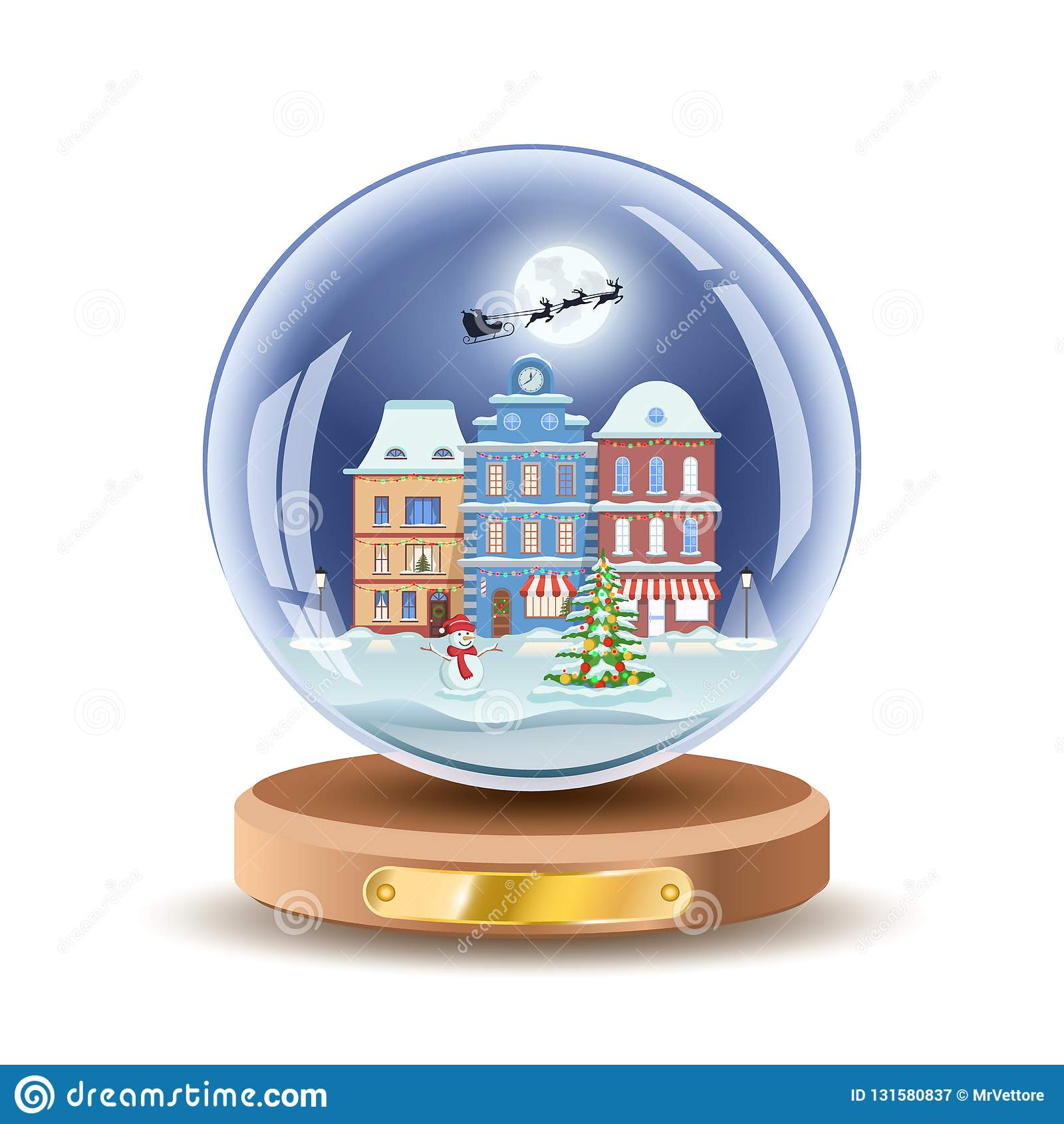 Σφαίρα χιονιού Χριστουγέννων με τα μικρού χωριού σπίτια Διανυσματικό illusrtation σφαιρών γυαλιού δώρων Χριστουγέννων Απομονωμένο