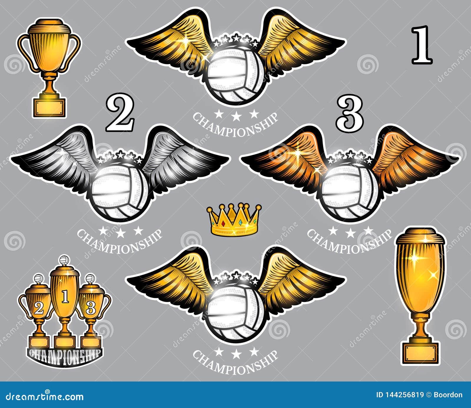 Σφαίρες πετοσφαίρισης με τα φλυτζάνια και την κορώνα φτερών Διανυσματικό σύνολο αθλητικού λογότυπου για οποιαδήποτε ομάδα