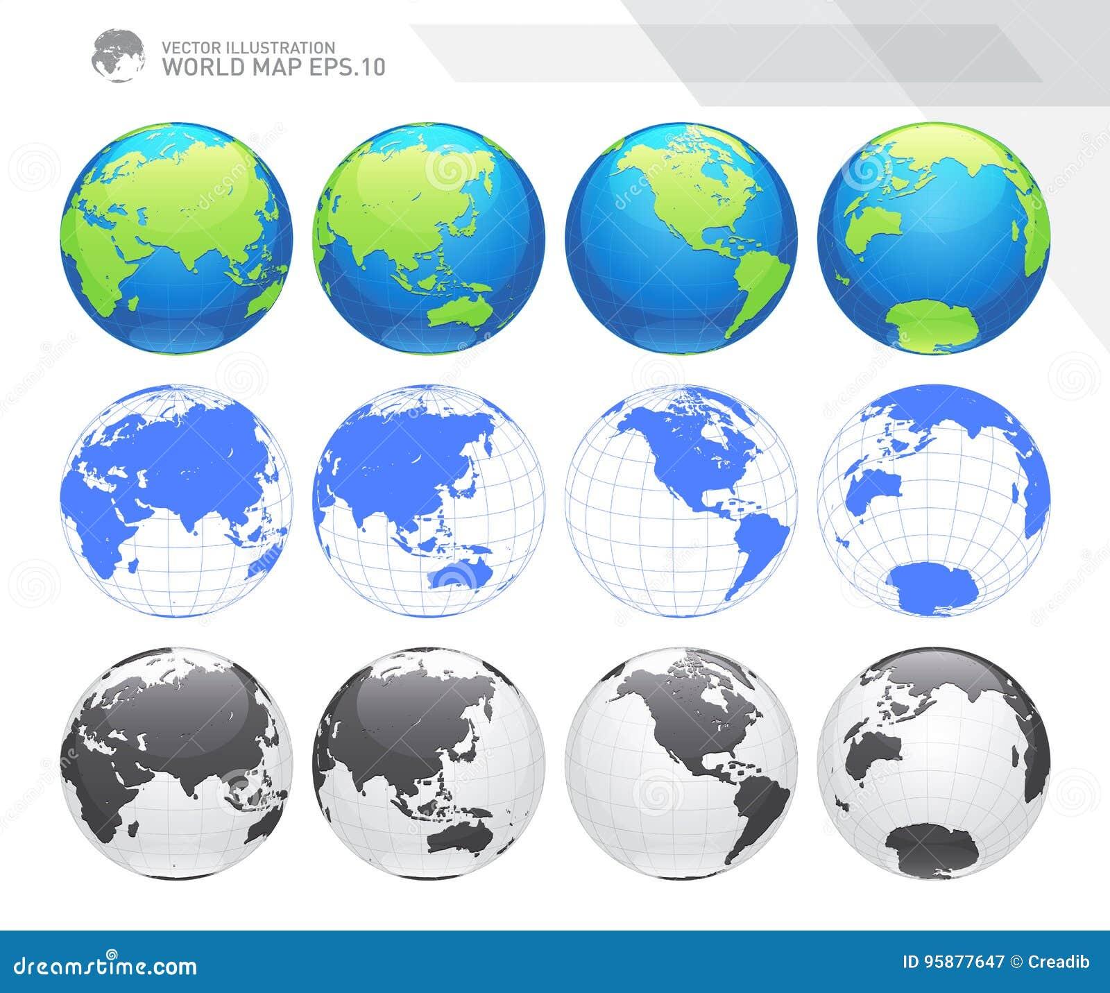 Σφαίρες που παρουσιάζουν γη με όλες τις ηπείρους Ψηφιακό διάνυσμα παγκόσμιων σφαιρών Διαστιγμένο διάνυσμα παγκόσμιων χαρτών
