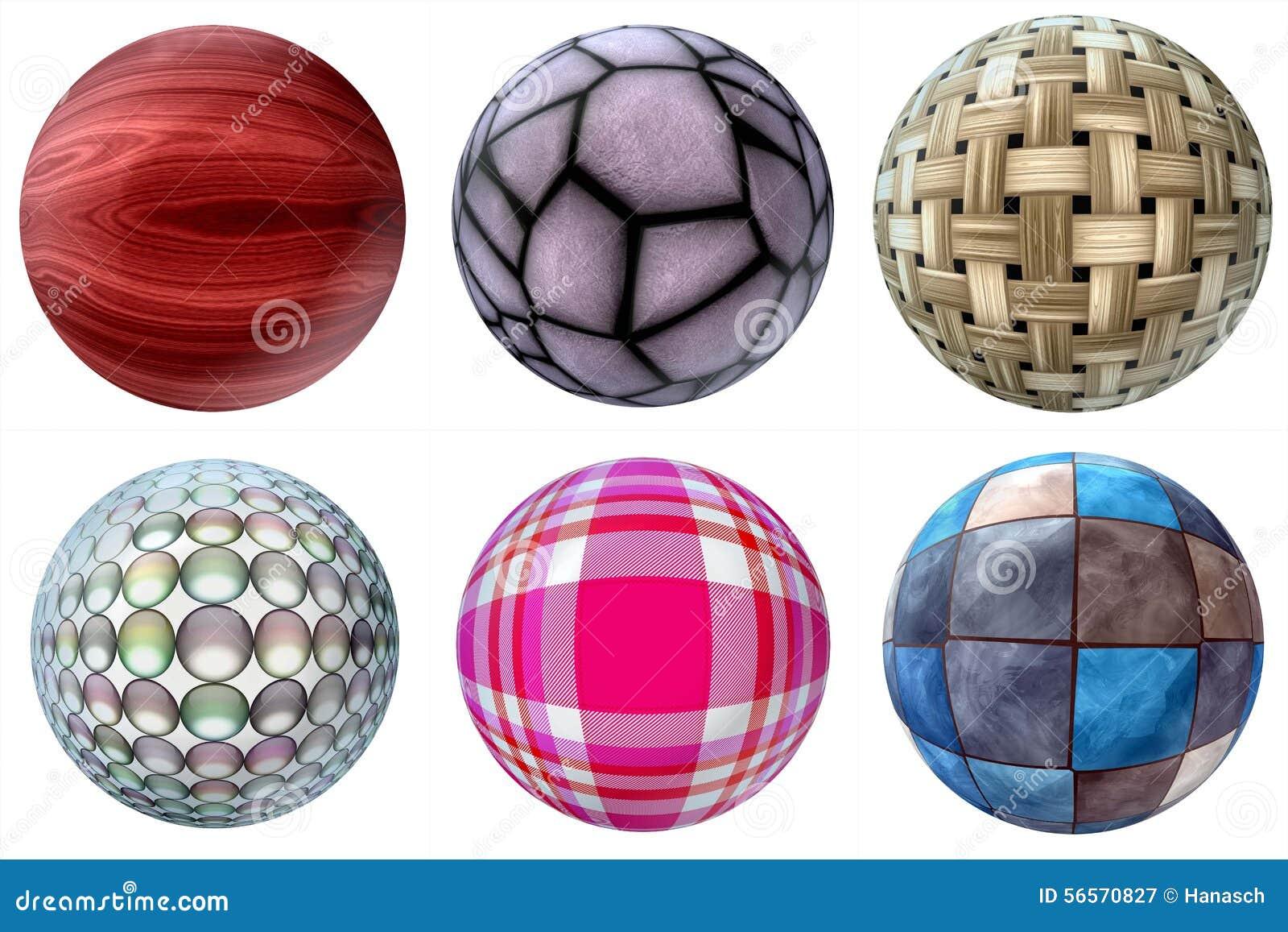Download Σφαίρες των διαφορετικών υλικών Απεικόνιση αποθεμάτων - εικονογραφία από έξυπνο, ύφασμα: 56570827
