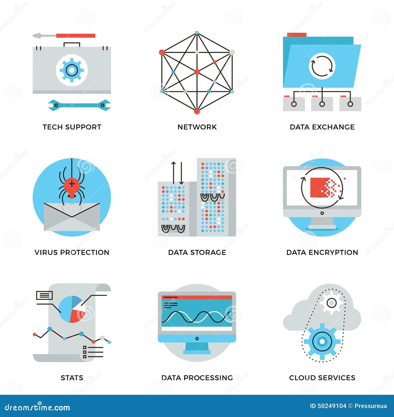 Σφαιρικά εικονίδια γραμμών υπηρεσιών τεχνολογίας στοιχείων καθορισμένα