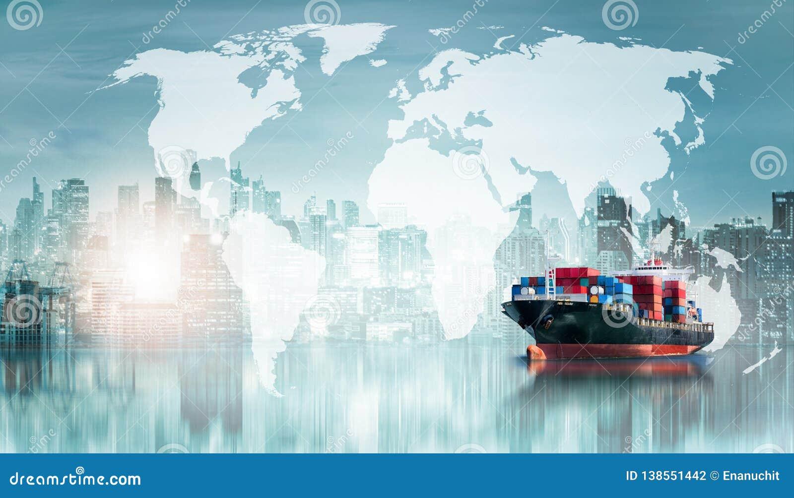 Σφαιρικά υπόβαθρο εισαγωγής-εξαγωγής επιχειρησιακών διοικητικών μεριμνών και σκάφος φορτίου φορτίου εμπορευματοκιβωτίων