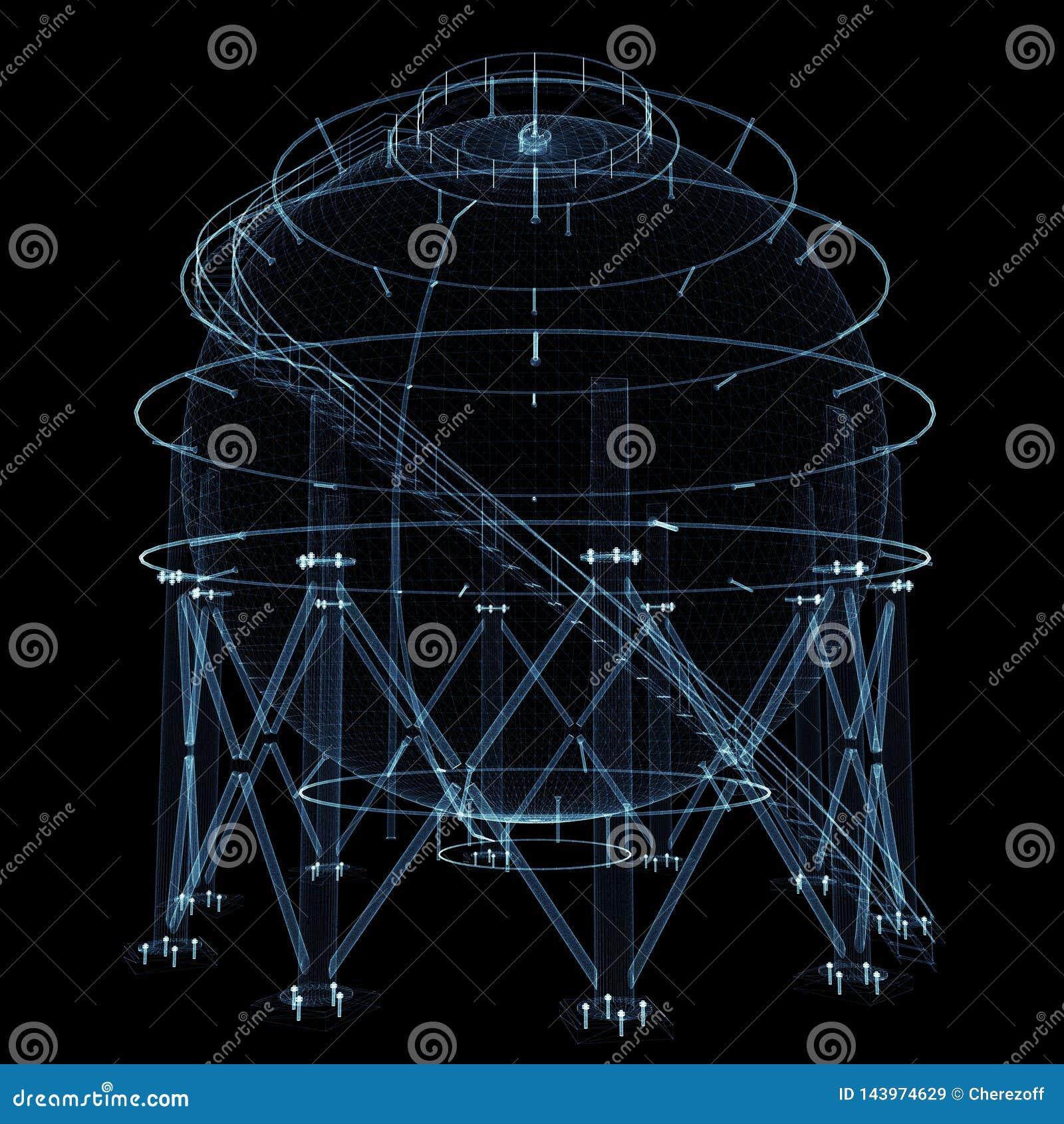 Σφαιρική δεξαμενή αερίου που αποτελείται από τις φωτεινά γραμμές και τα σημεία