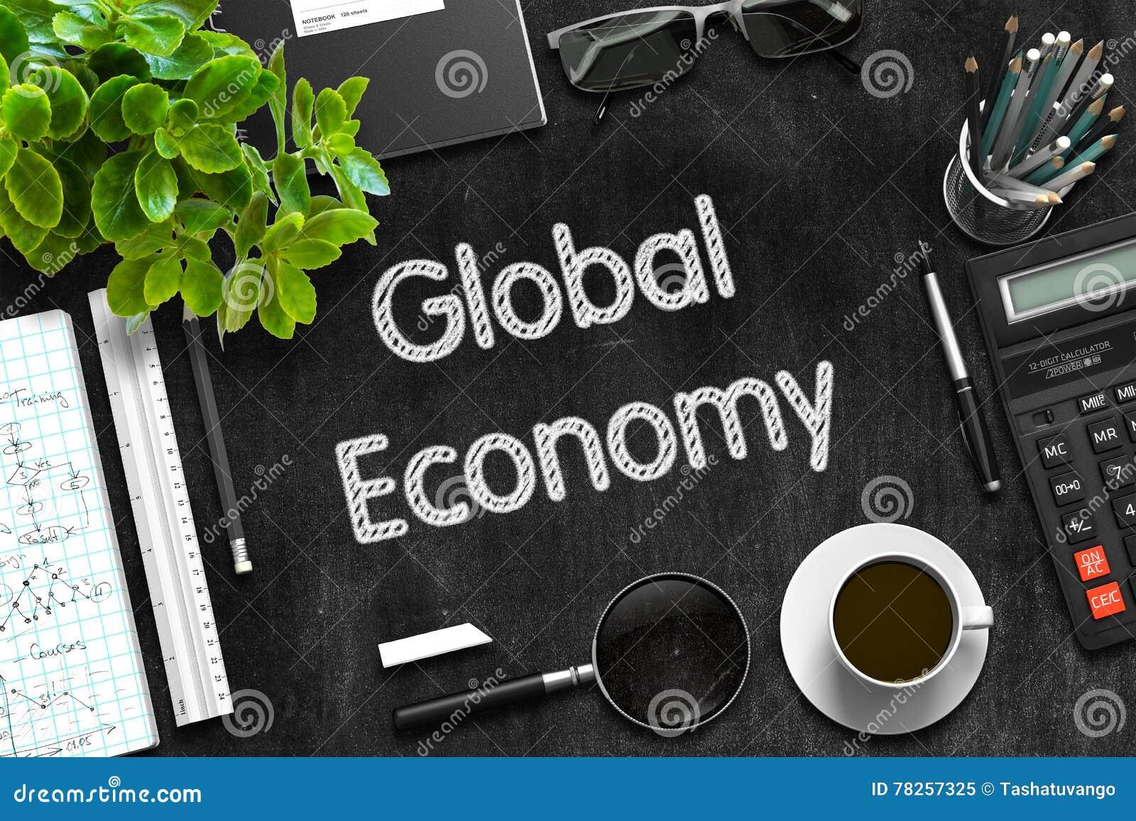 Σφαιρική οικονομία στο μαύρο πίνακα κιμωλίας τρισδιάστατη απόδοση