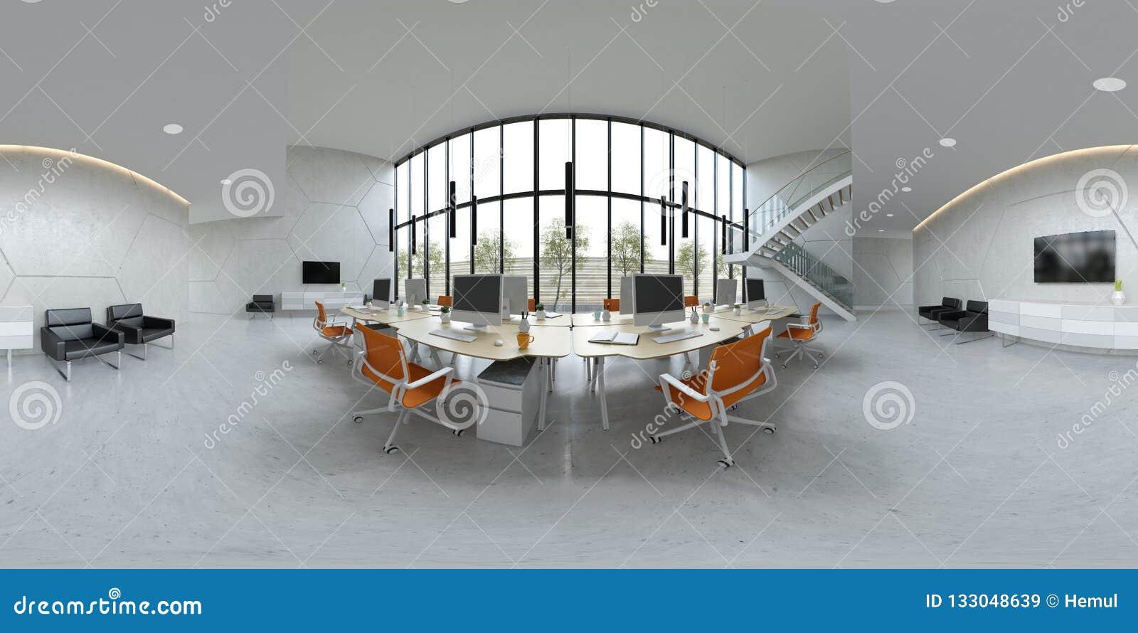 Σφαιρική πανοράματος 360 τρισδιάστατη απεικόνιση γραφείων ανοιχτού χώρου προβολής εσωτερική