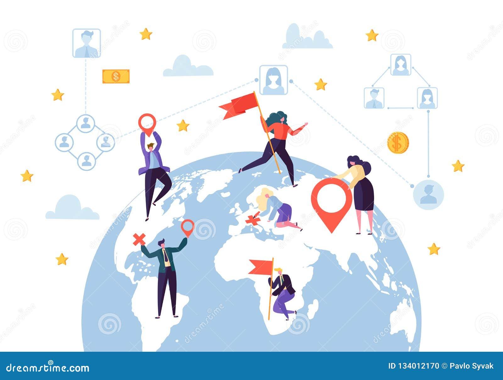 Σφαιρική σύνδεση επιχειρησιακού κοινωνική σχεδιαγράμματος Παγκόσμια έννοια δικτύων επικοινωνίας επιχειρηματιών Σχέδιο γήινων σφαι