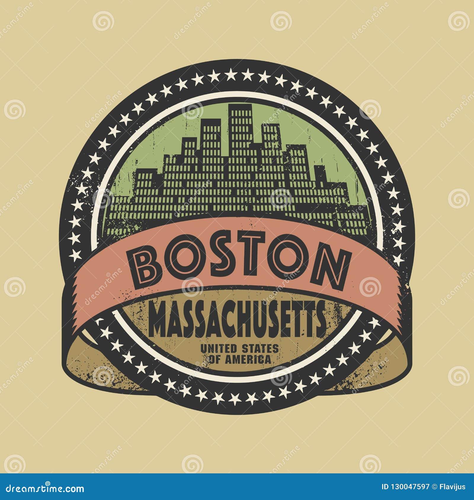 Σφραγίδα Grunge με το όνομα της Βοστώνης, Μασαχουσέτη