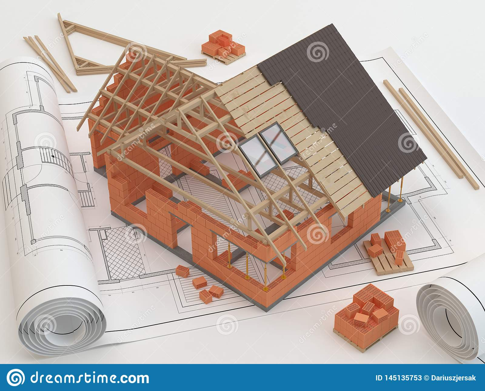 Σχέδια και σπίτι, τρισδιάστατη απεικόνιση