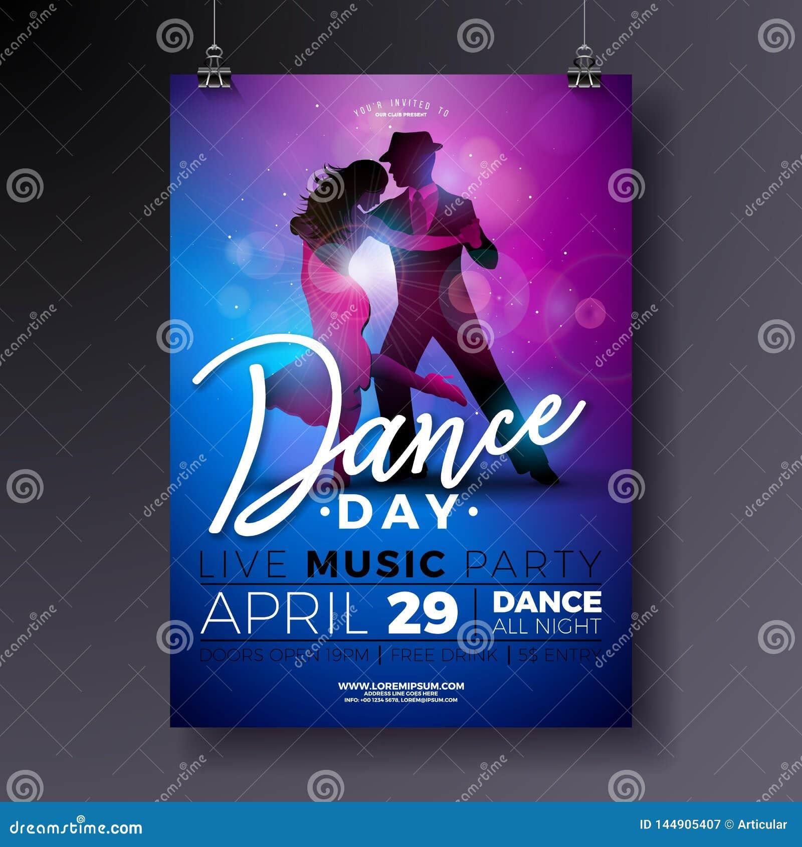 Σχέδιο ιπτάμενων κόμματος ημέρας χορού με το τανγκό χορού ζευγών στο λ