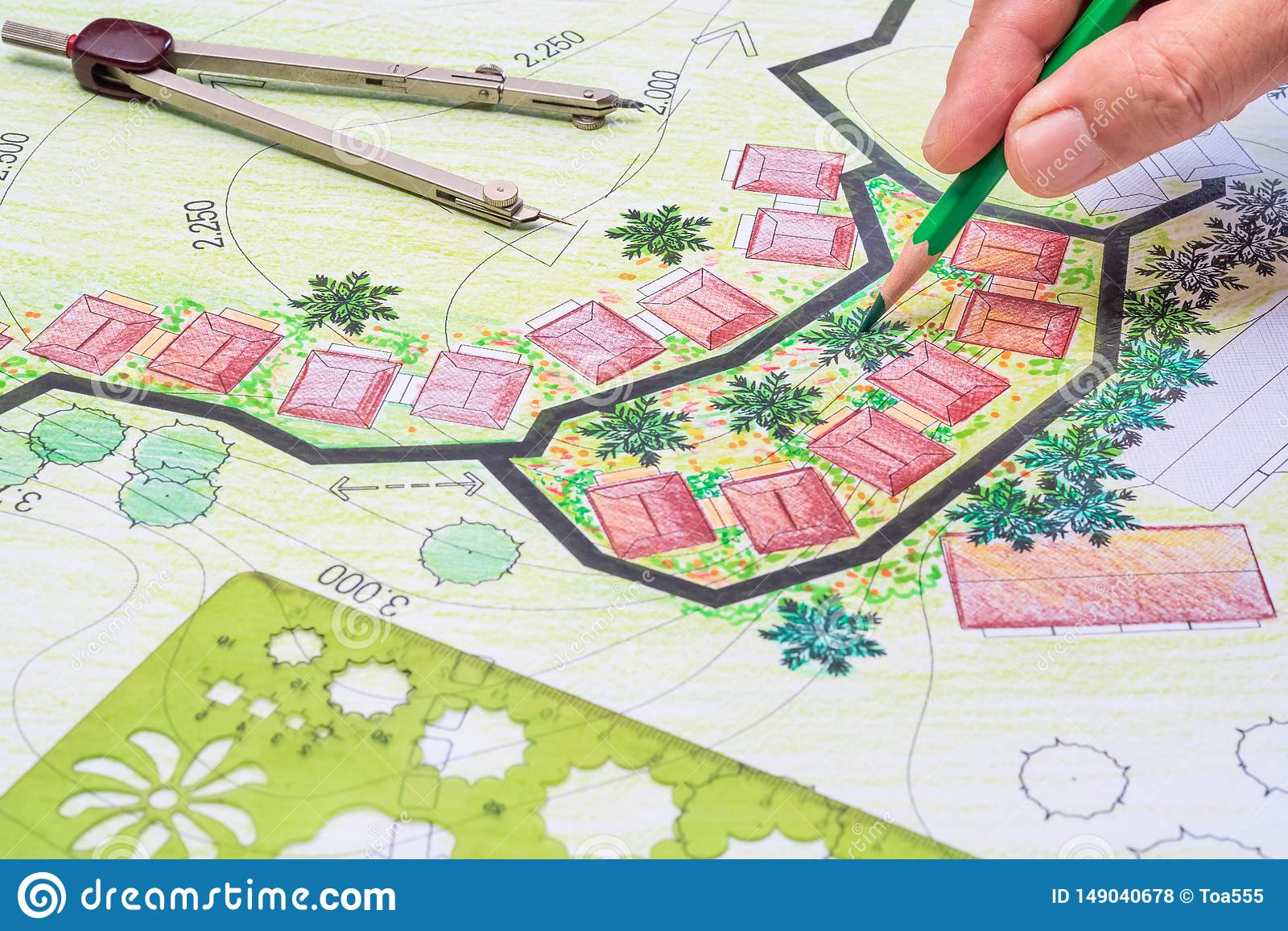 Σχέδιο κήπων σχεδίου αρχιτεκτονικής τοπίων για το συγκρότημα κατοικιών